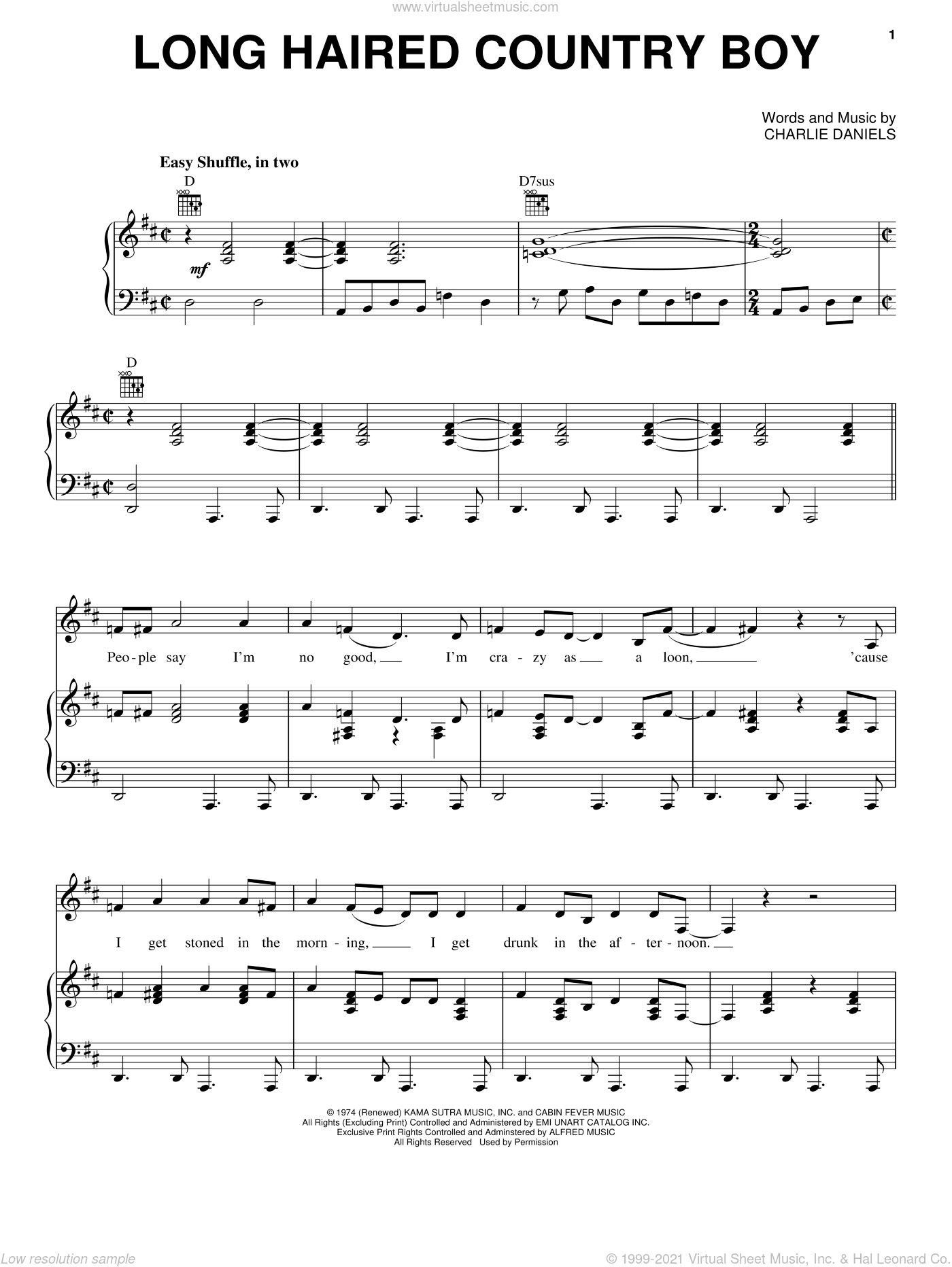 Long Haired Country Boy sheet music for voice, piano or guitar by Charlie Daniels, intermediate skill level