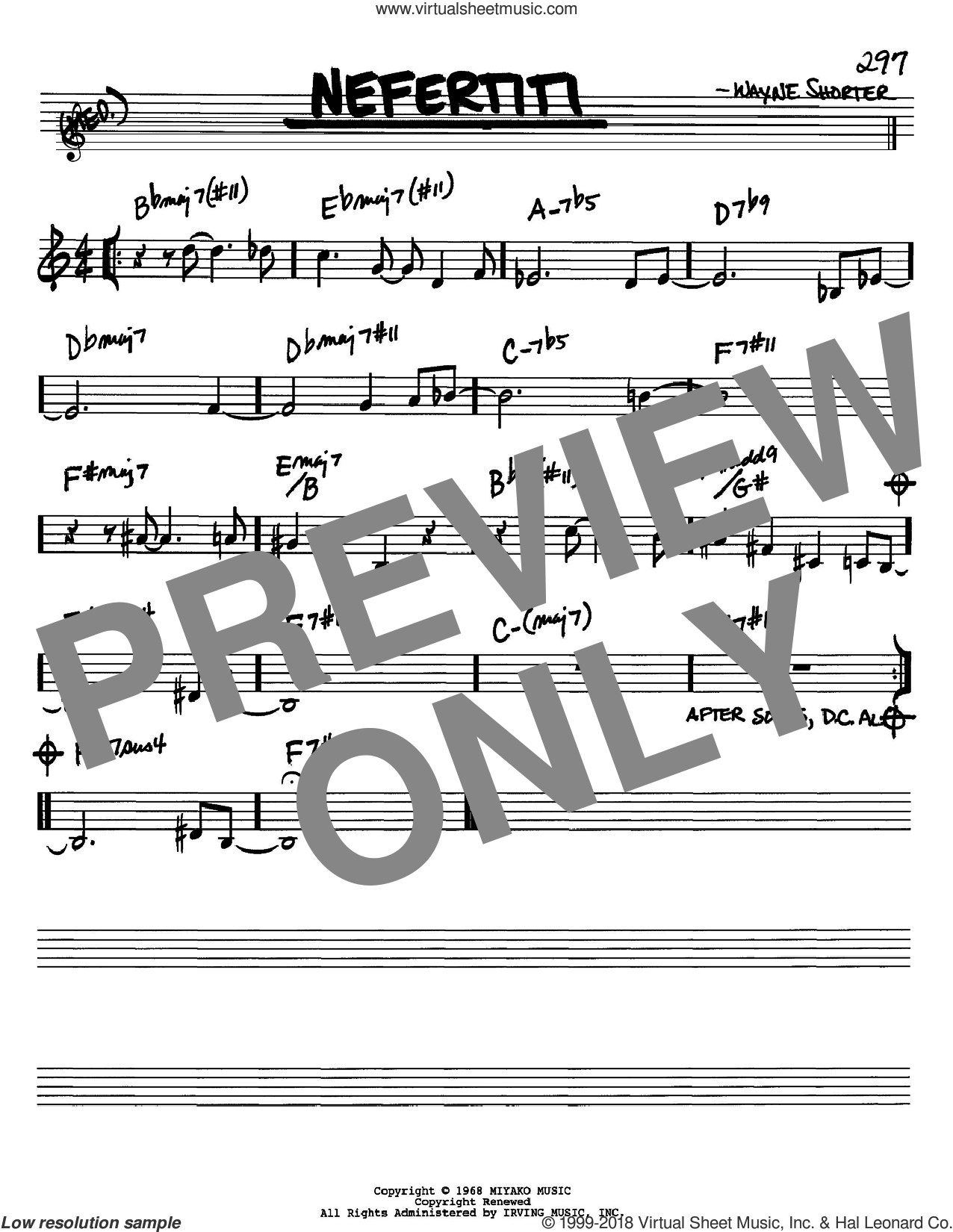 Nefertiti sheet music for voice and other instruments (in Bb) by Wayne Shorter, intermediate