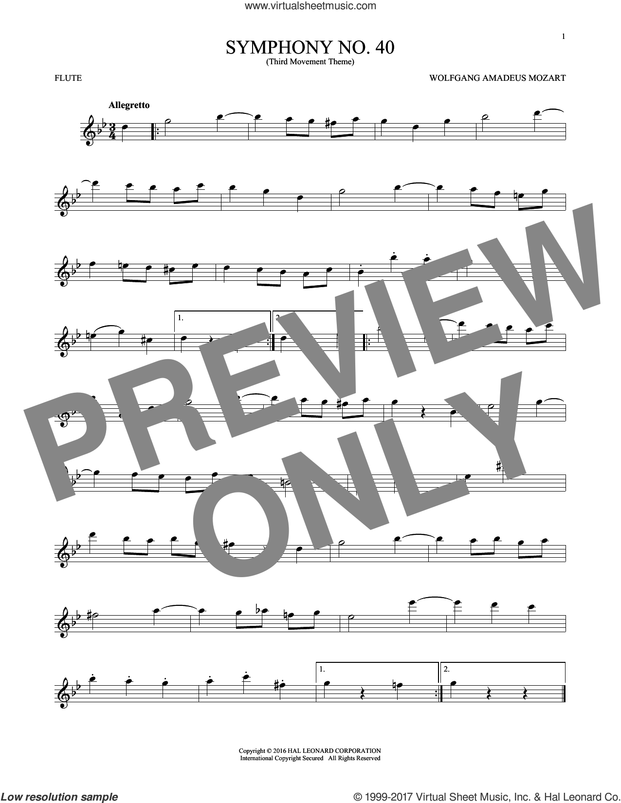 Symphony No. 40 In G Minor, Third Movement ('Minuet') sheet music for flute solo by Wolfgang Amadeus Mozart, classical score, intermediate skill level