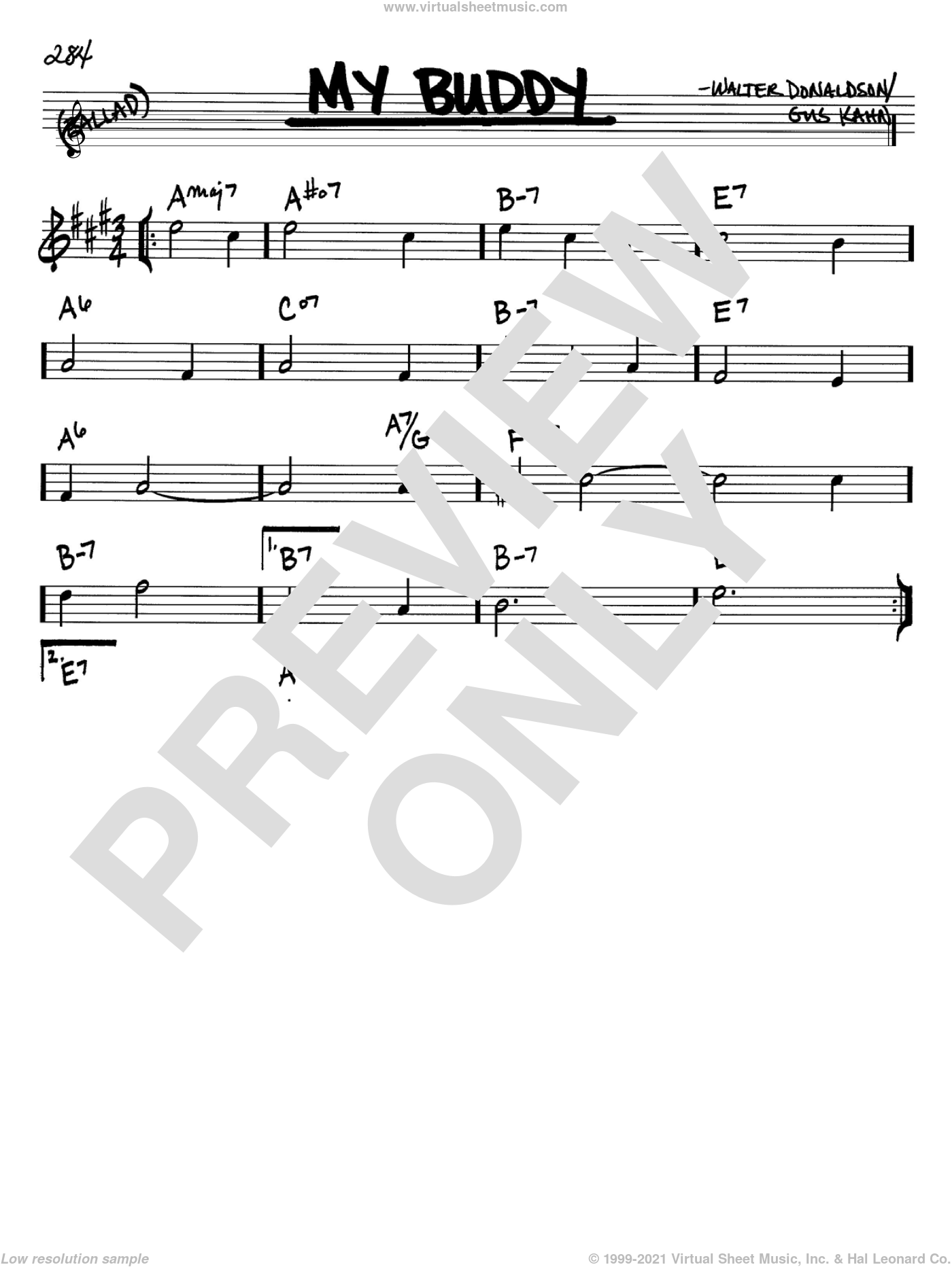 My Buddy sheet music for voice and other instruments (Bb) by Walter Donaldson and Gus Kahn. Score Image Preview.