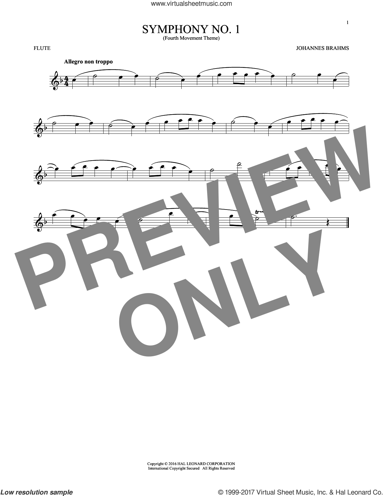 Symphony No. 1 In C Minor, Fourth Movement Excerpt sheet music for flute solo by Johannes Brahms, classical score, intermediate skill level