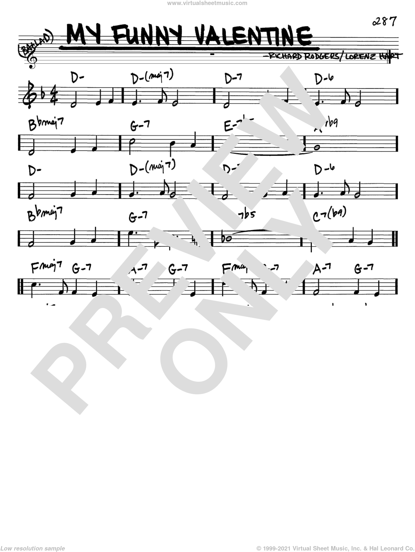 My Funny Valentine sheet music for voice and other instruments (in Bb) by Rodgers & Hart, Lorenz Hart and Richard Rodgers, intermediate skill level