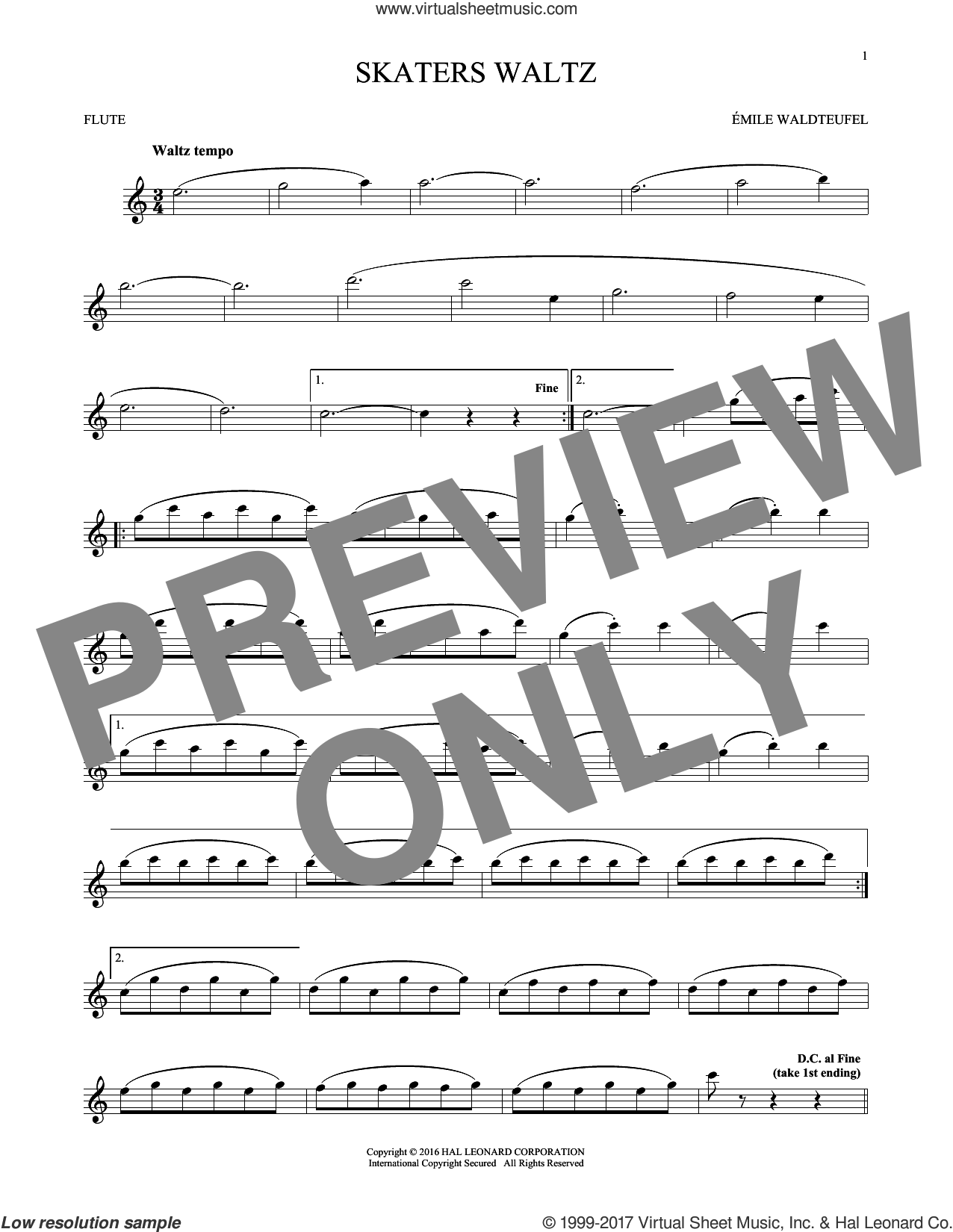 The Skaters (Waltz) sheet music for flute solo by Emile Waldteufel, classical score, intermediate skill level