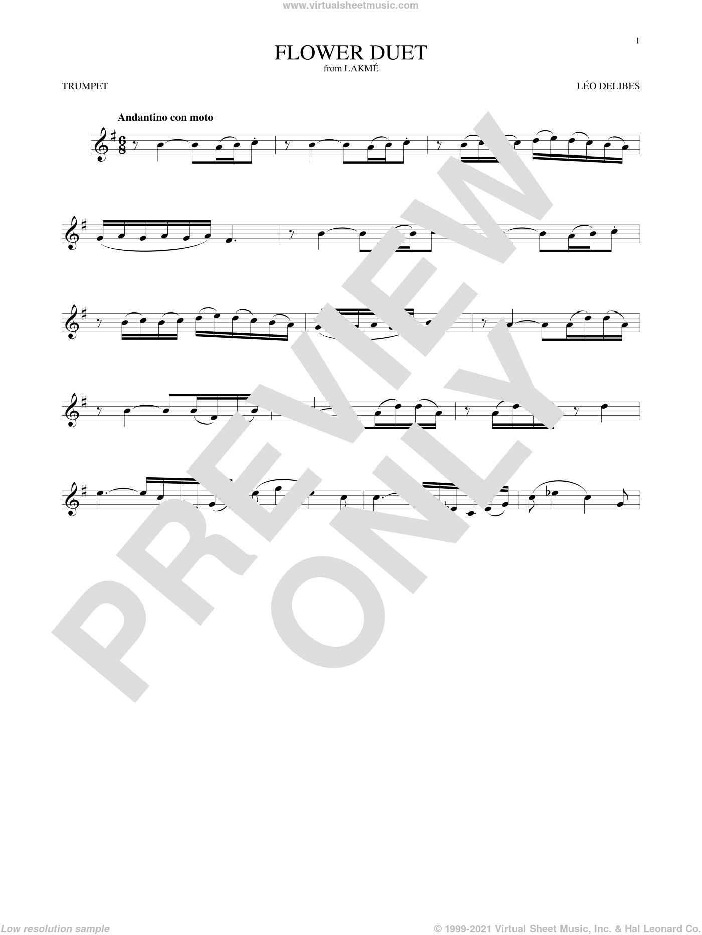 Flower Duet sheet music for trumpet solo by Leo Delibes and Leo Delibes, classical score, intermediate skill level
