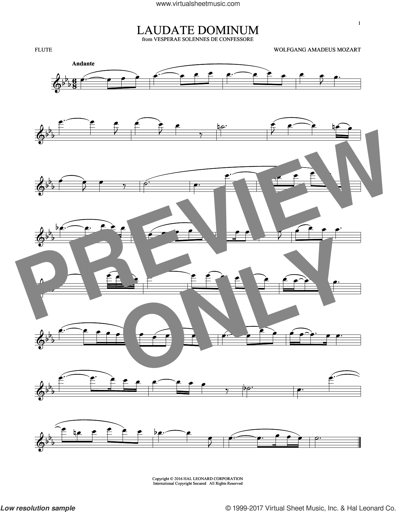 Laudate Dominum sheet music for flute solo by Wolfgang Amadeus Mozart, classical score, intermediate skill level