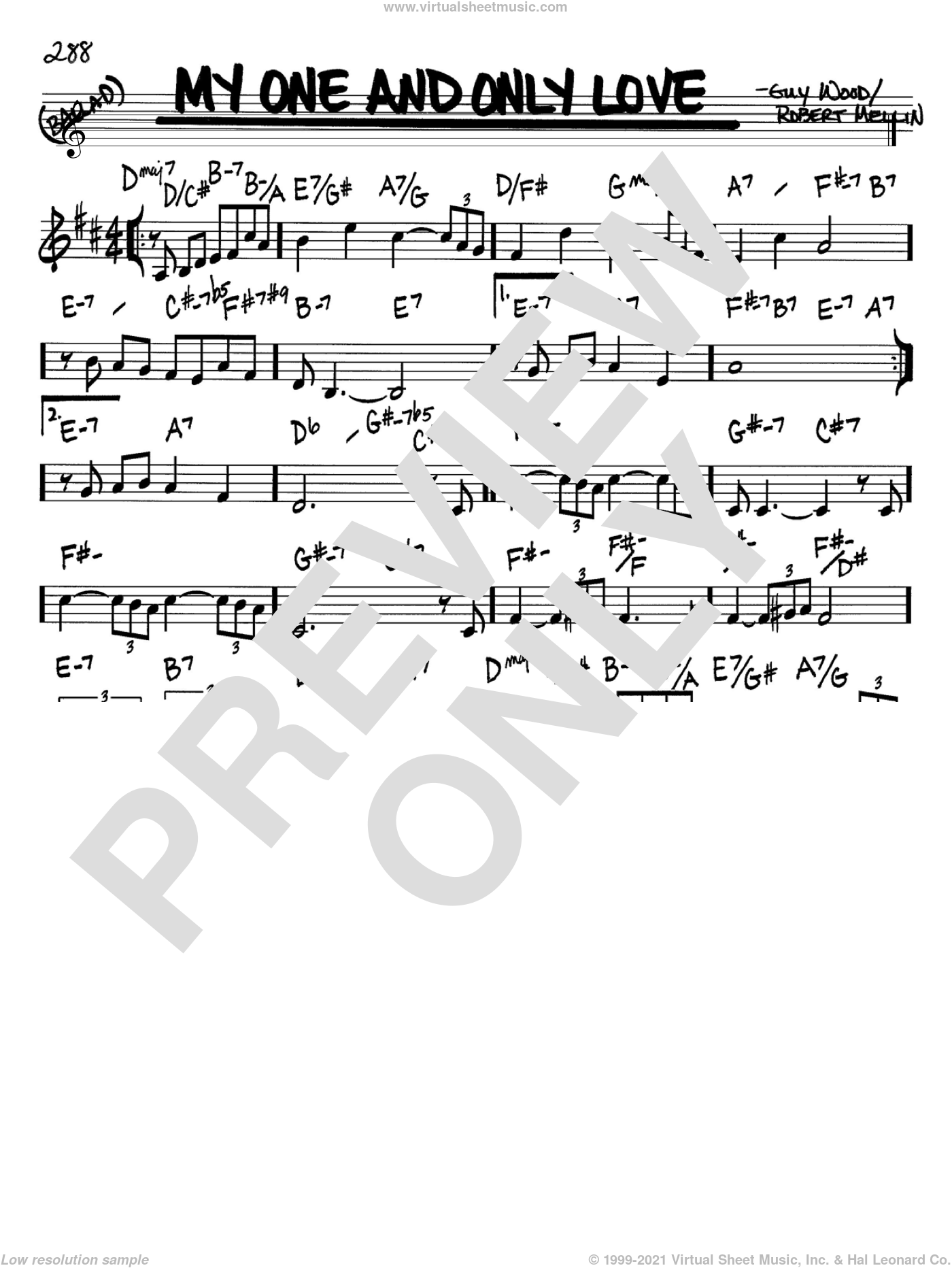 My One And Only Love sheet music for voice and other instruments (in Bb) by Robert Mellin and Guy Wood, intermediate. Score Image Preview.