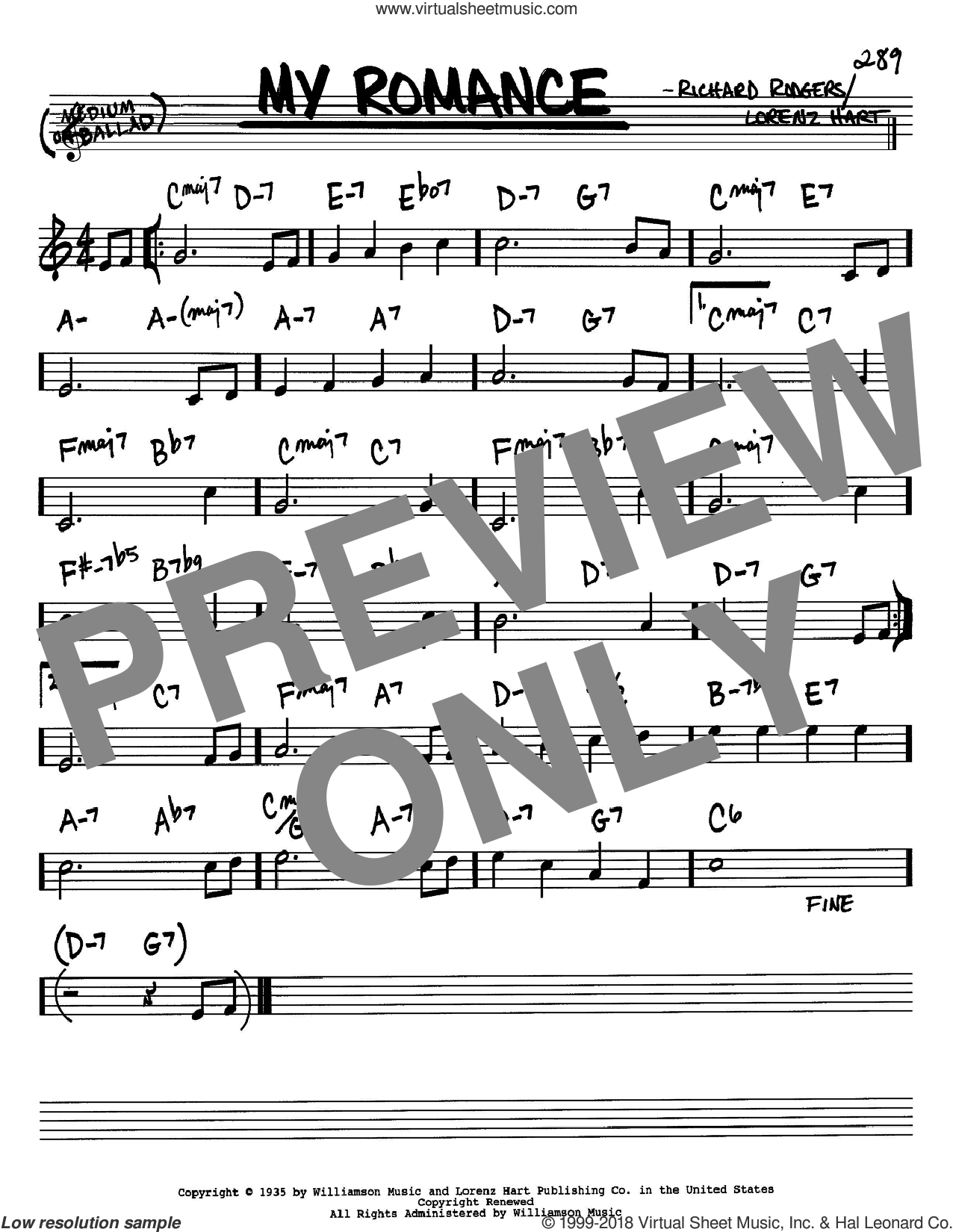 My Romance sheet music for voice and other instruments (Bb) by Rodgers & Hart, Lorenz Hart and Richard Rodgers, intermediate. Score Image Preview.
