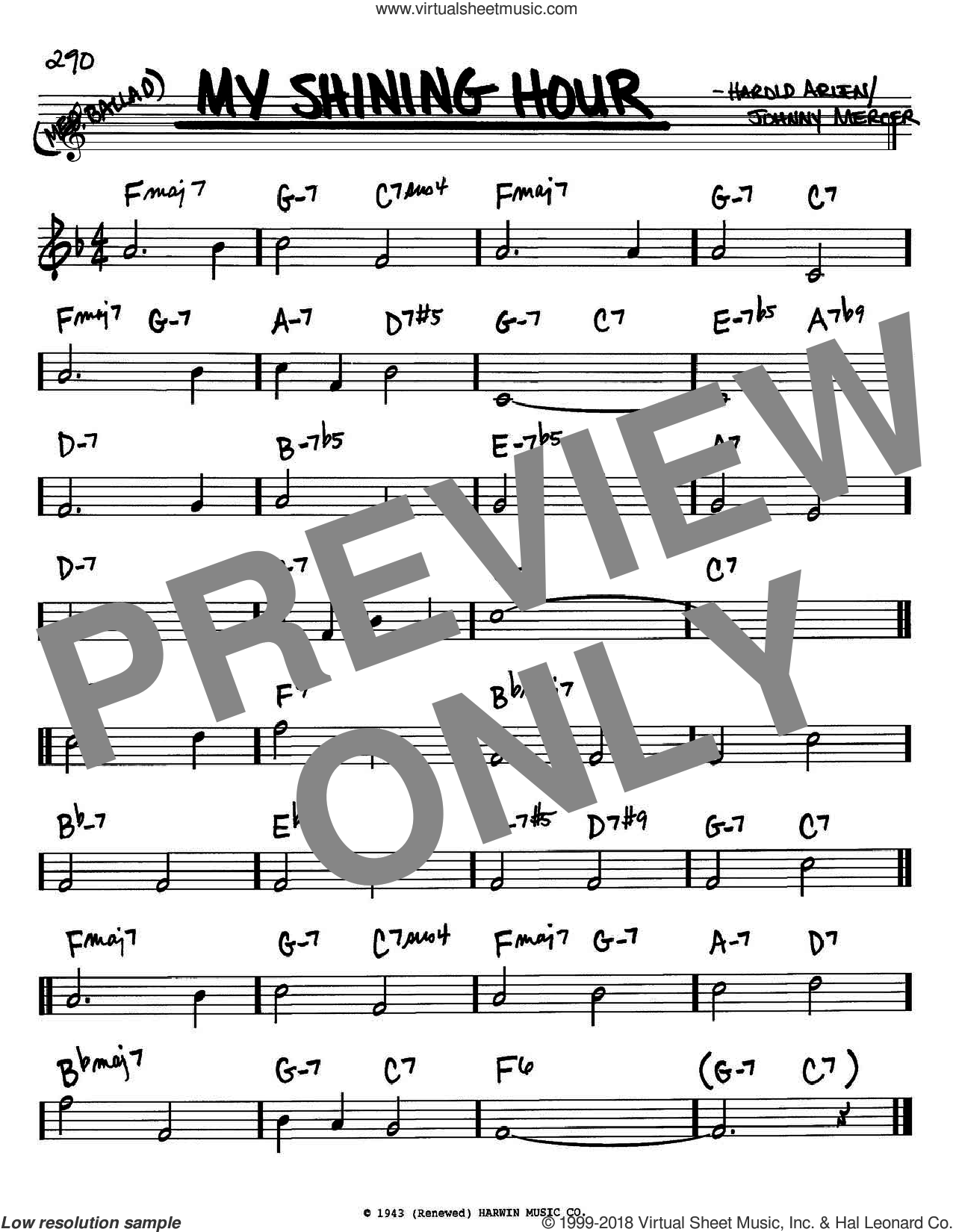 My Shining Hour sheet music for voice and other instruments (in Bb) by Harold Arlen and Johnny Mercer, intermediate skill level