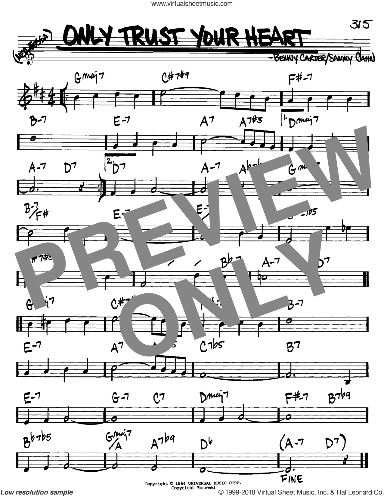 Only Trust Your Heart sheet music for voice and other instruments (Bb) by Benny Carter and Sammy Cahn. Score Image Preview.