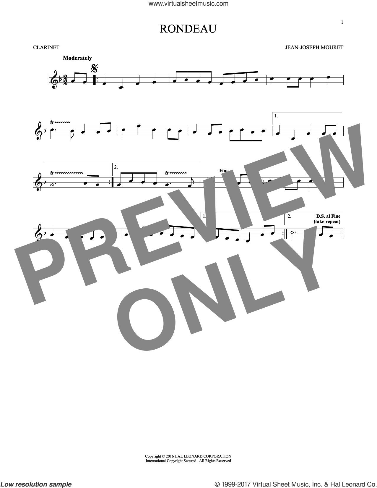 Fanfare Rondeau sheet music for clarinet solo by Jean-Joseph Mouret, classical score, intermediate skill level
