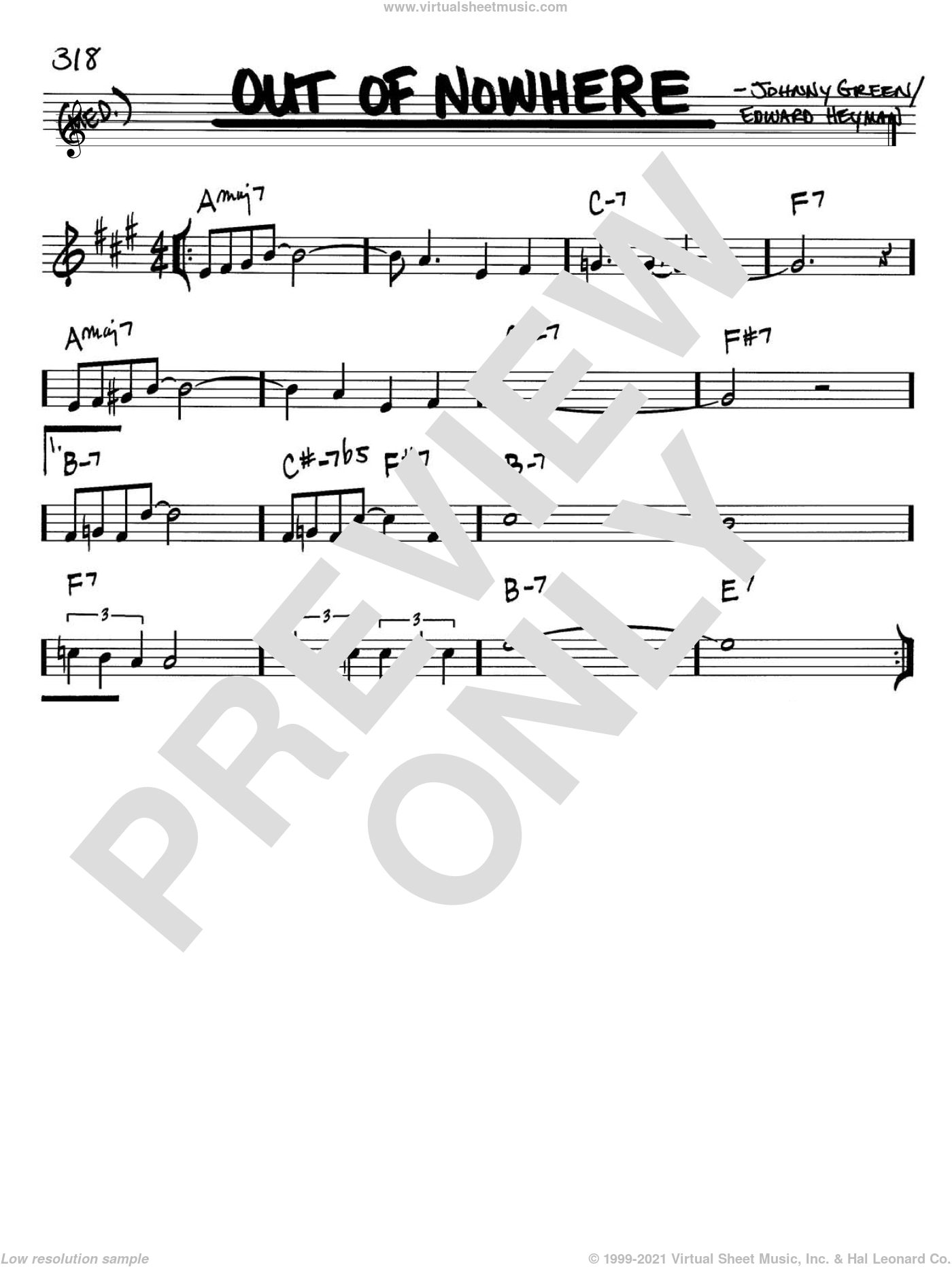 Out Of Nowhere sheet music for voice and other instruments (Bb) by Johnny Green and Edward Heyman. Score Image Preview.