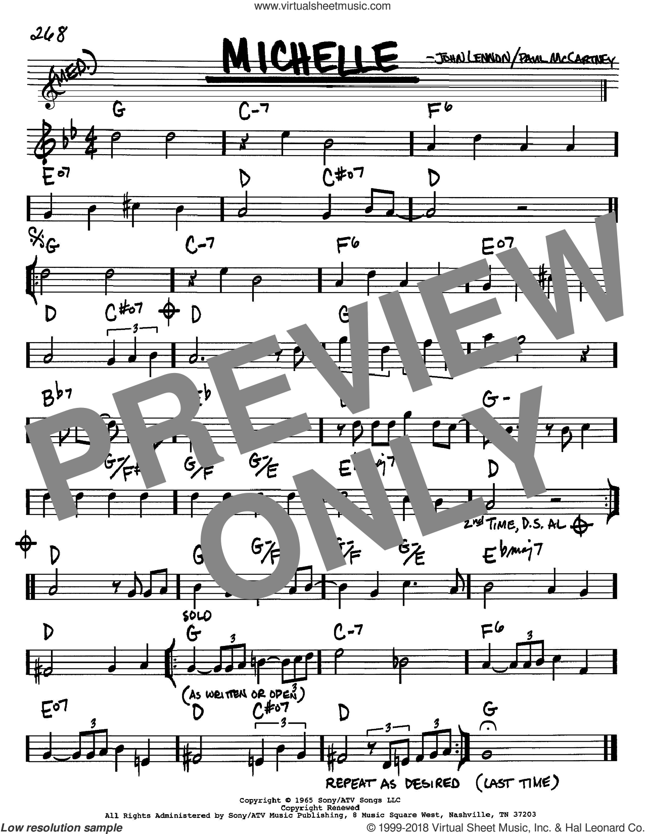 Michelle sheet music for voice and other instruments (Bb) by Paul McCartney, The Beatles and John Lennon. Score Image Preview.