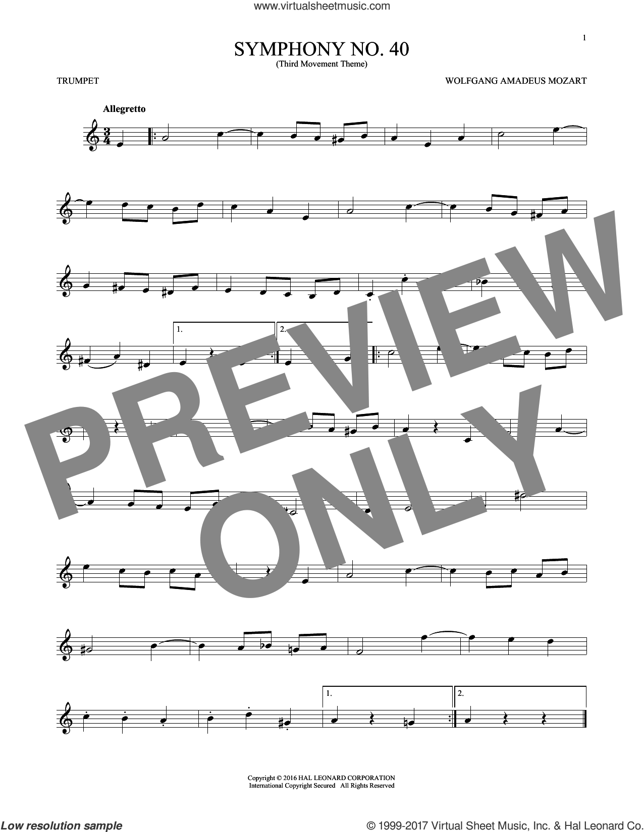 Symphony No. 40 In G Minor, Third Movement ('Minuet') sheet music for trumpet solo by Wolfgang Amadeus Mozart, classical score, intermediate skill level