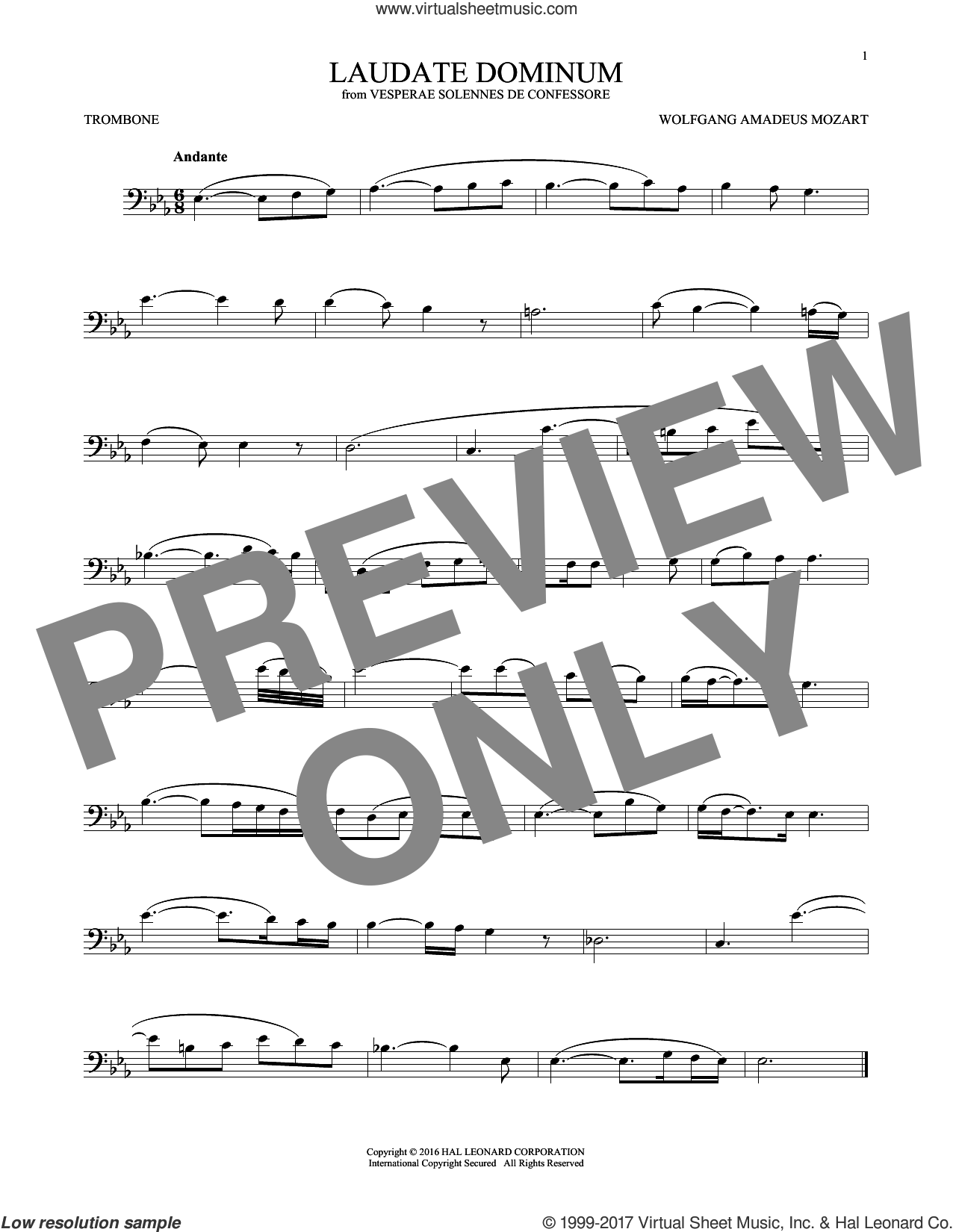 Laudate Dominum sheet music for trombone solo by Wolfgang Amadeus Mozart, classical score, intermediate skill level