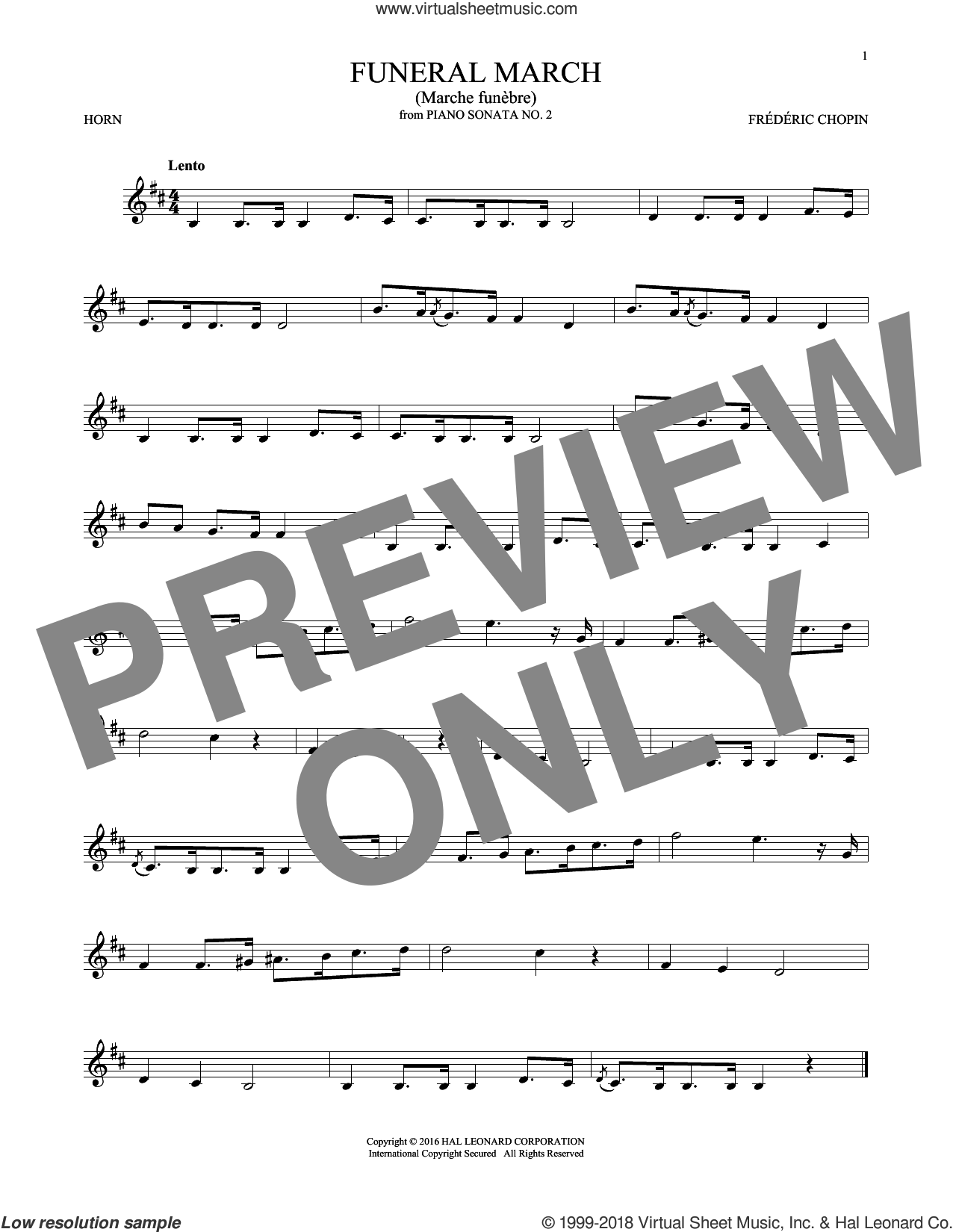 Funeral March sheet music for horn solo by Frederic Chopin, classical score, intermediate skill level