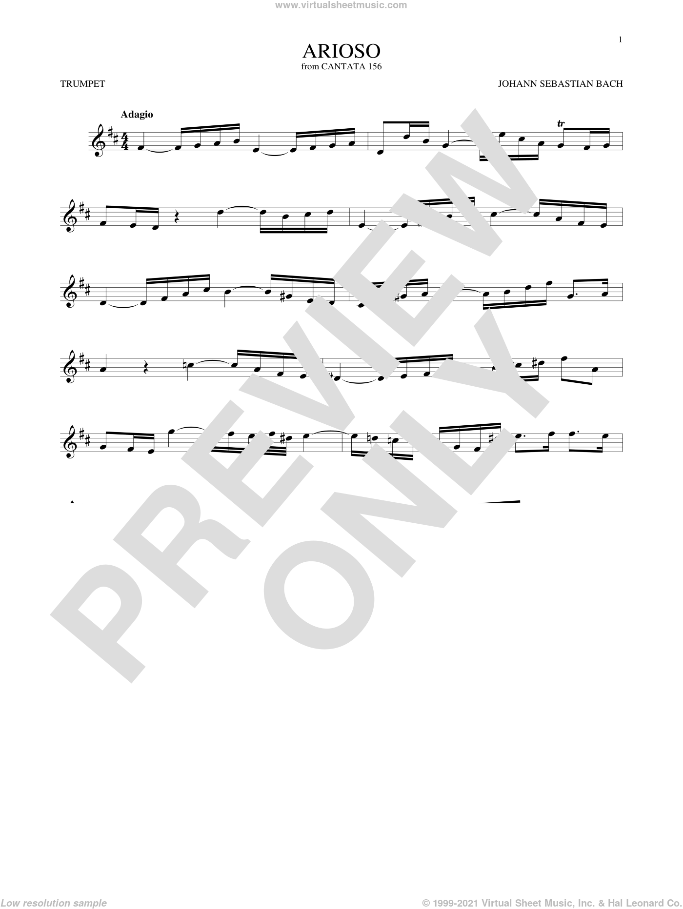 Arioso sheet music for trumpet solo by Johann Sebastian Bach, classical score, intermediate skill level