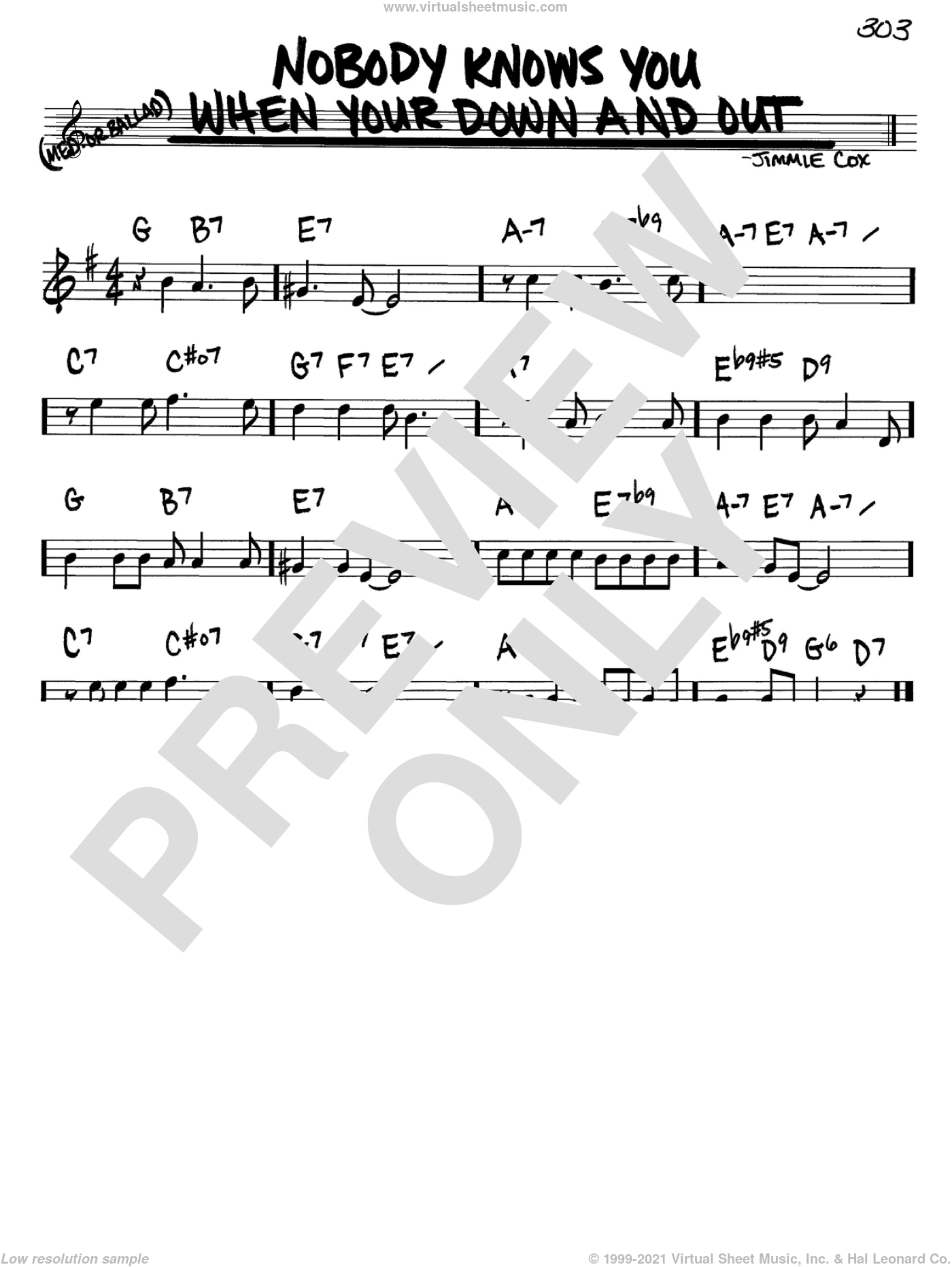 Nobody Knows You When You're Down And Out sheet music for voice and other instruments (in Bb) by Jimmie Cox, intermediate skill level