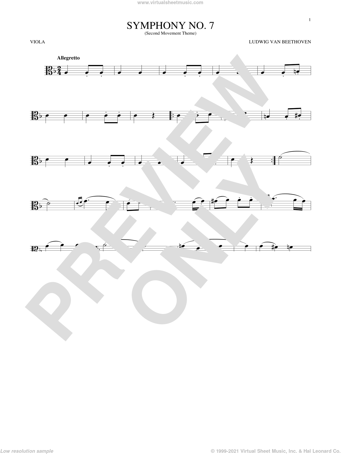 Symphony No. 7 In A Major, Second Movement (Allegretto) sheet music for viola solo by Ludwig van Beethoven, classical score, intermediate skill level