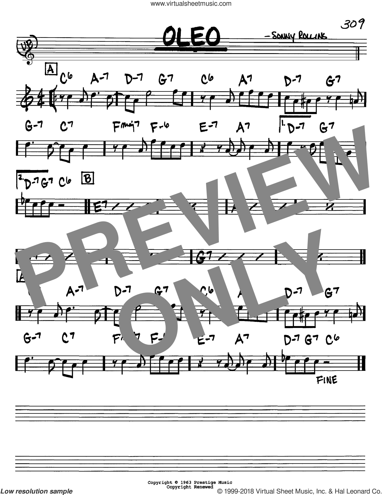 Oleo sheet music for voice and other instruments (Bb) by Sonny Rollins and John Coltrane. Score Image Preview.