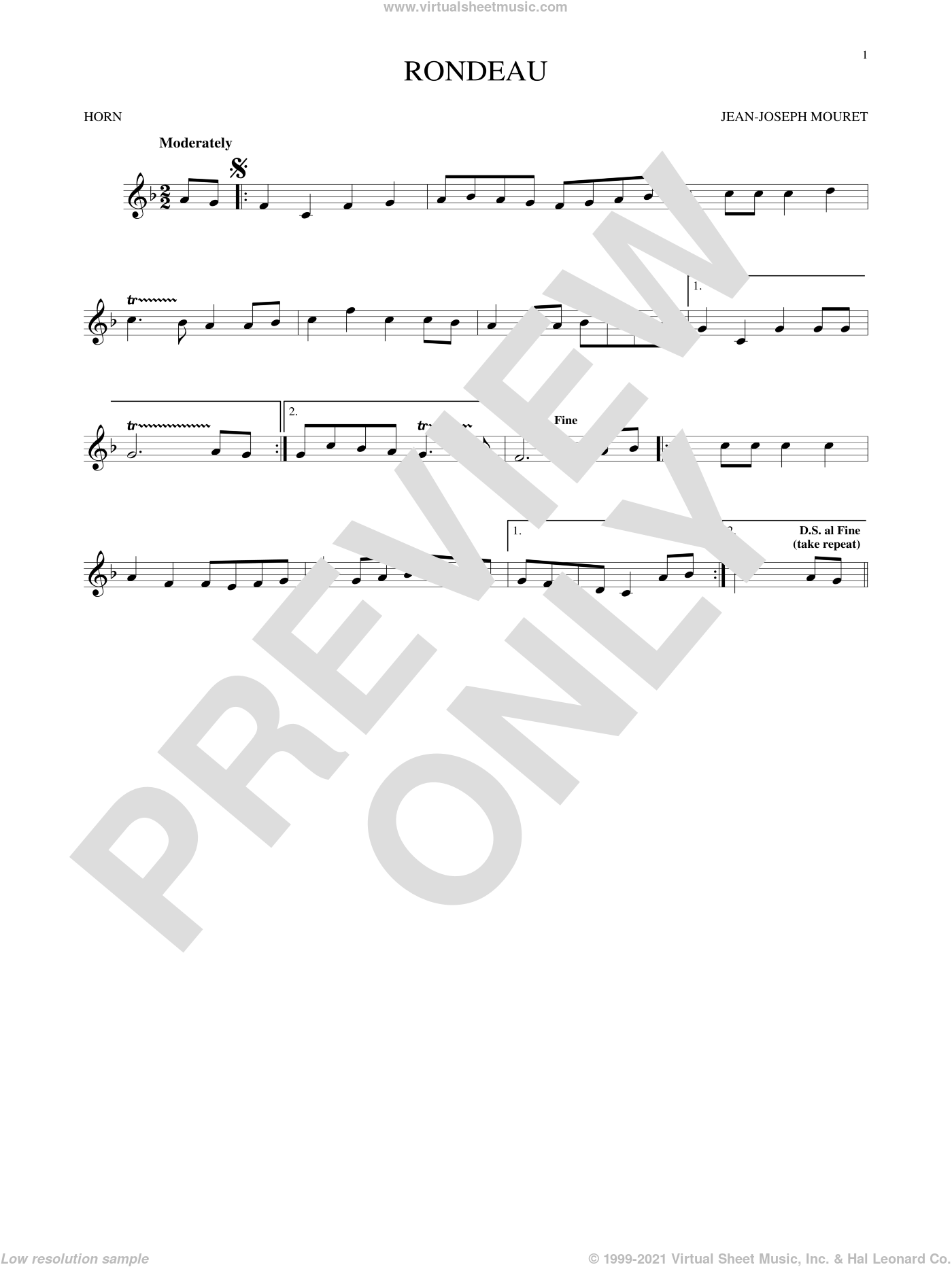 Fanfare Rondeau sheet music for horn solo by Jean-Joseph Mouret, classical score, intermediate skill level