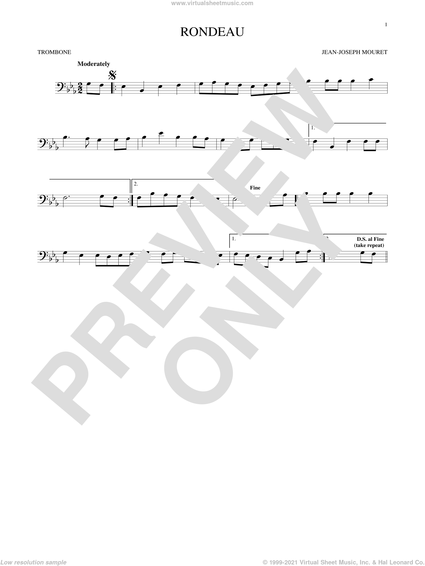 Fanfare Rondeau sheet music for trombone solo by Jean-Joseph Mouret, classical score, intermediate skill level