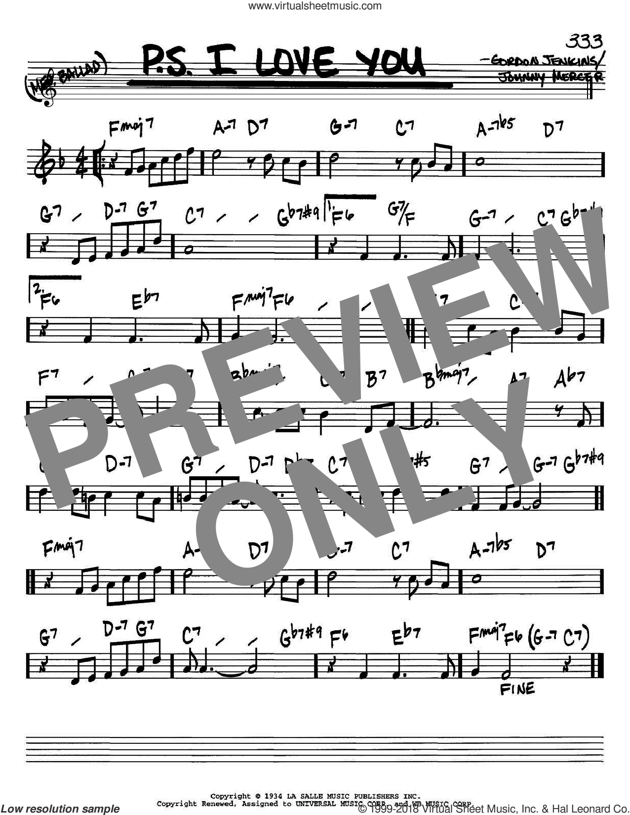 P.S. I Love You sheet music for voice and other instruments (Bb) by The Hilltoppers, Gordon Jenkins and Johnny Mercer. Score Image Preview.