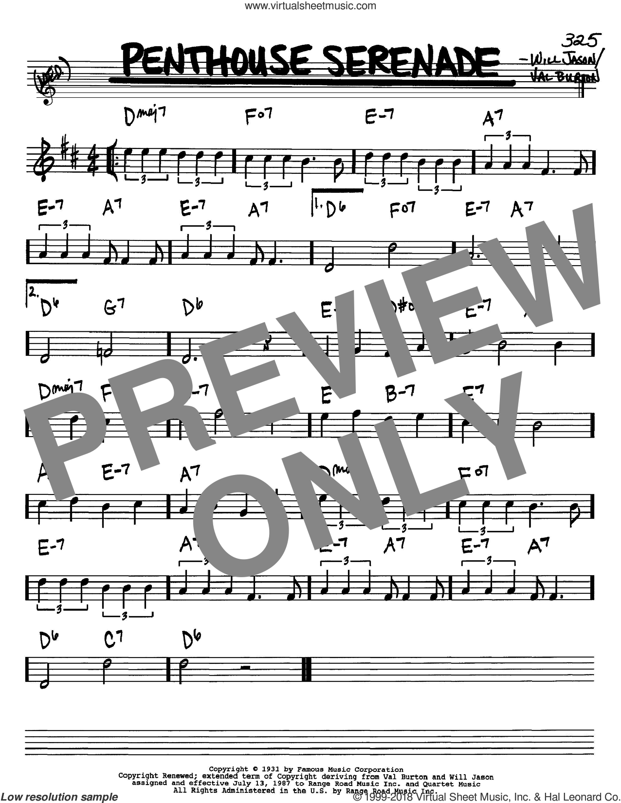 Penthouse Serenade sheet music for voice and other instruments (Bb) by Will Jason and Nat King Cole. Score Image Preview.
