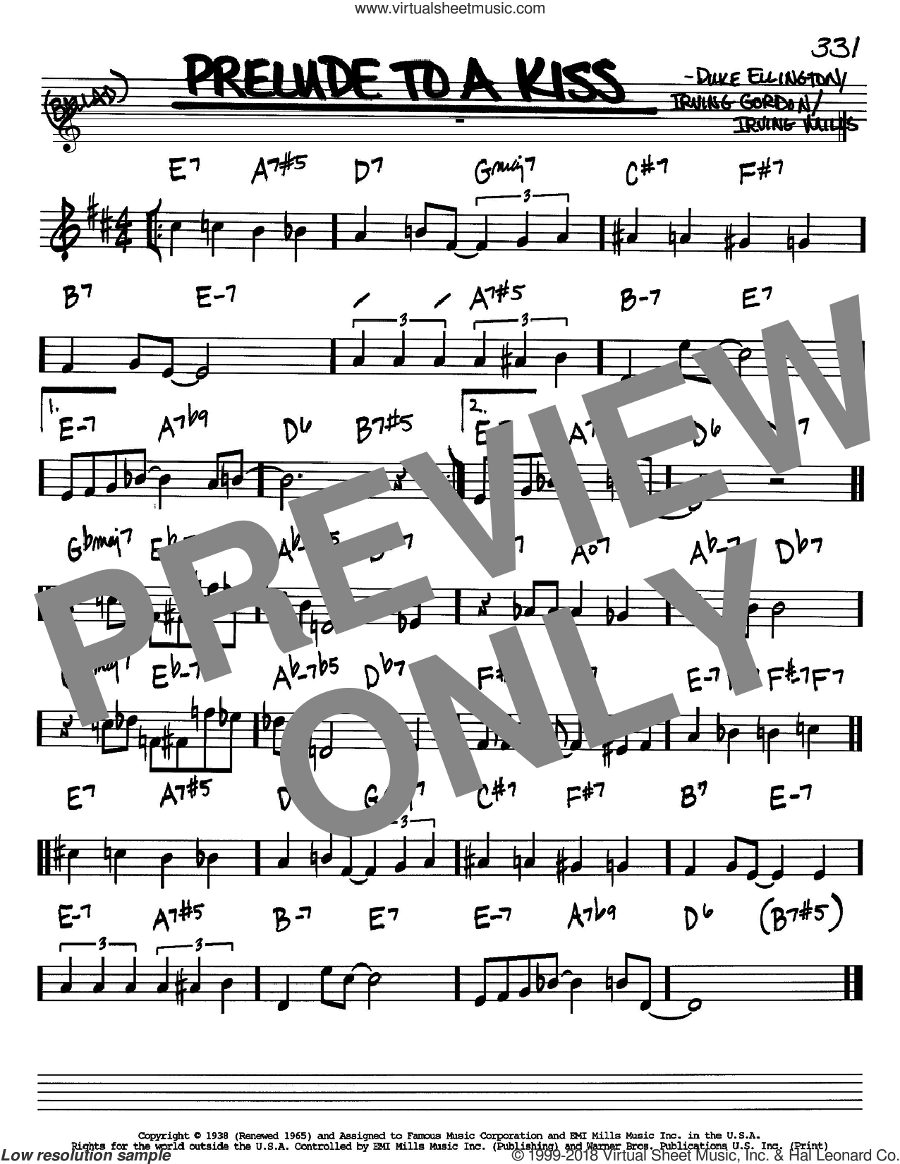 Prelude To A Kiss sheet music for voice and other instruments (Bb) by Duke Ellington, Irving Gordon and Irving Mills, intermediate voice. Score Image Preview.