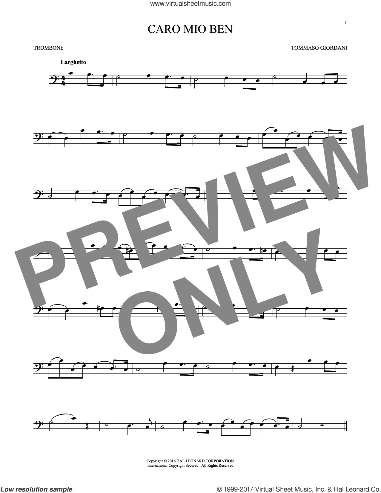 Caro Mio Ben sheet music for trombone solo by Tommaso Giordani and Anonymous Italian poem, classical score, intermediate skill level