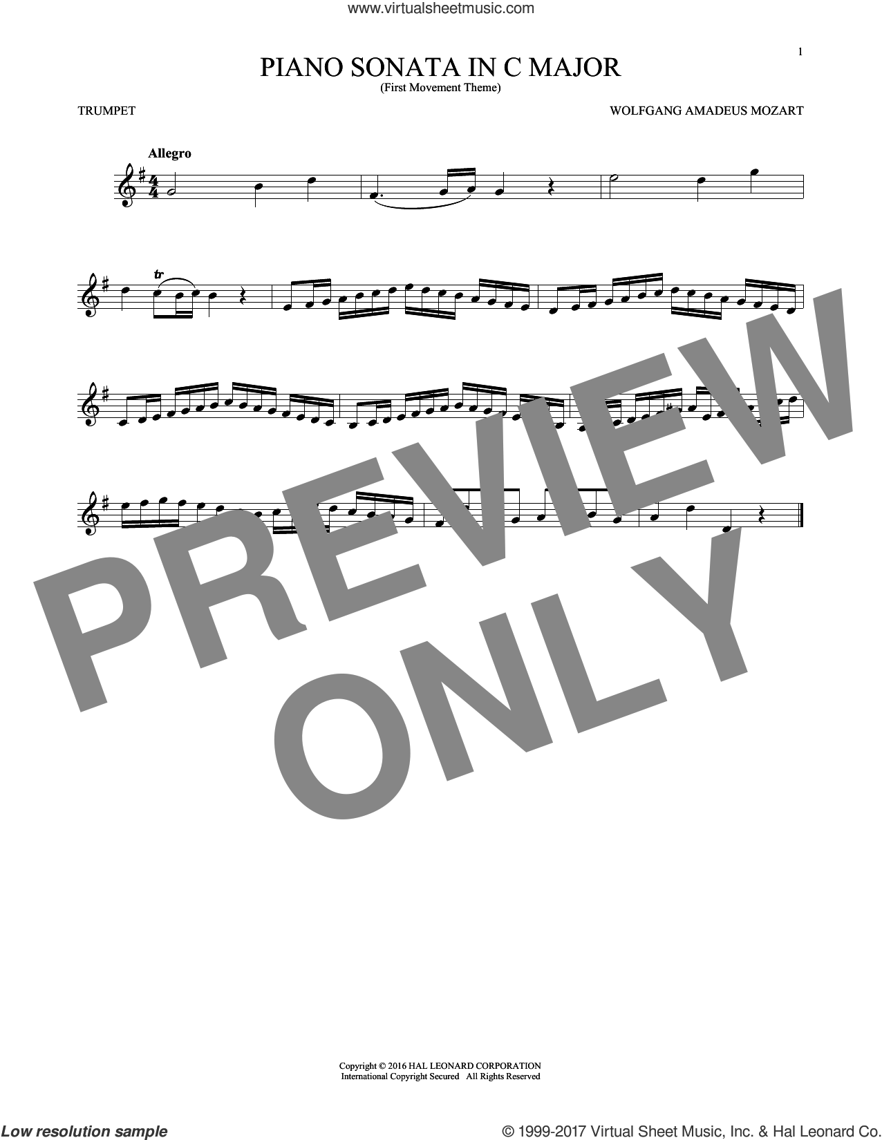 Piano Sonata In C Major sheet music for trumpet solo by Wolfgang Amadeus Mozart, classical score, intermediate. Score Image Preview.
