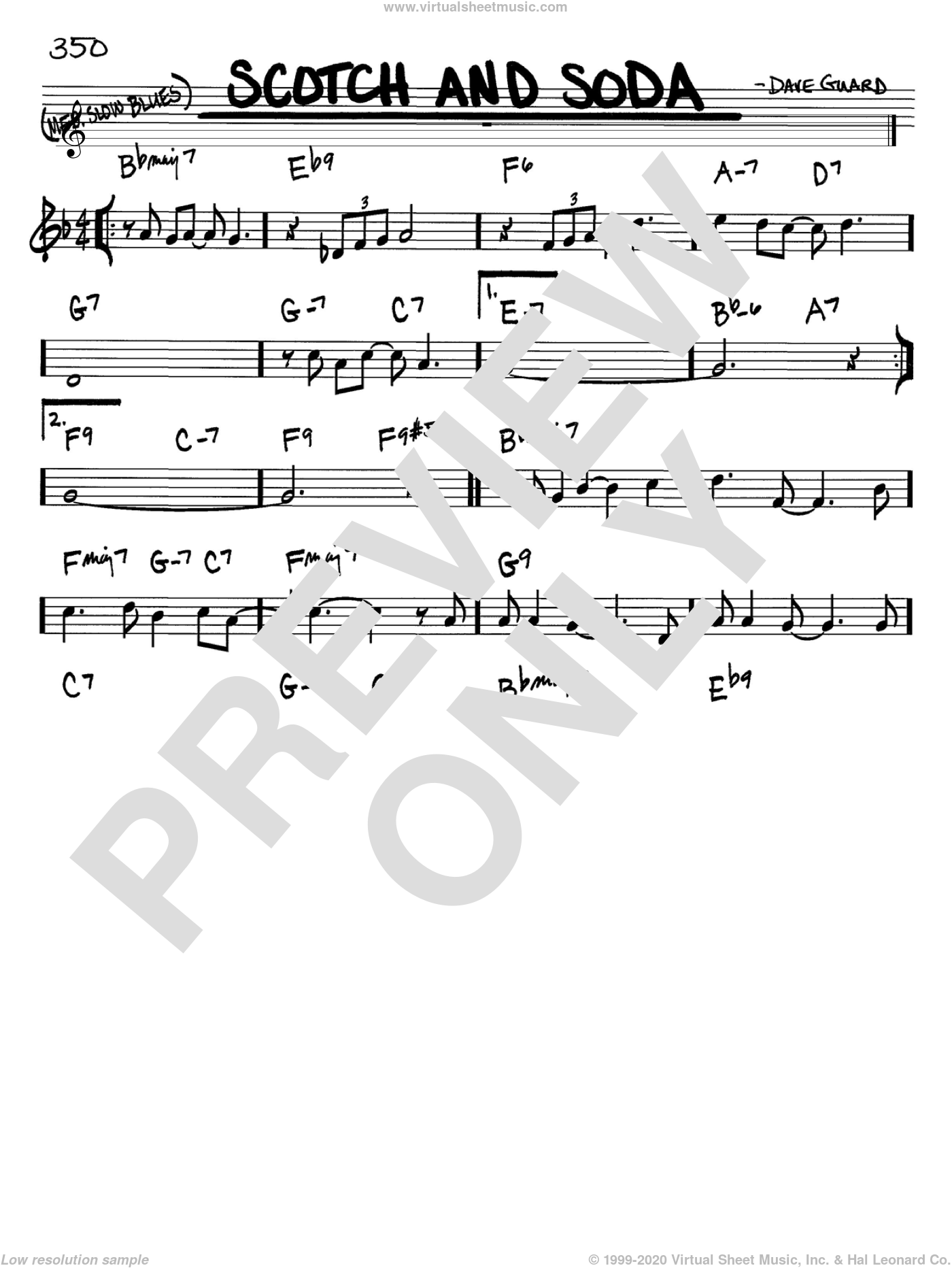 Scotch And Soda sheet music for voice and other instruments (Bb) by Dave Guard and The Kingston Trio. Score Image Preview.