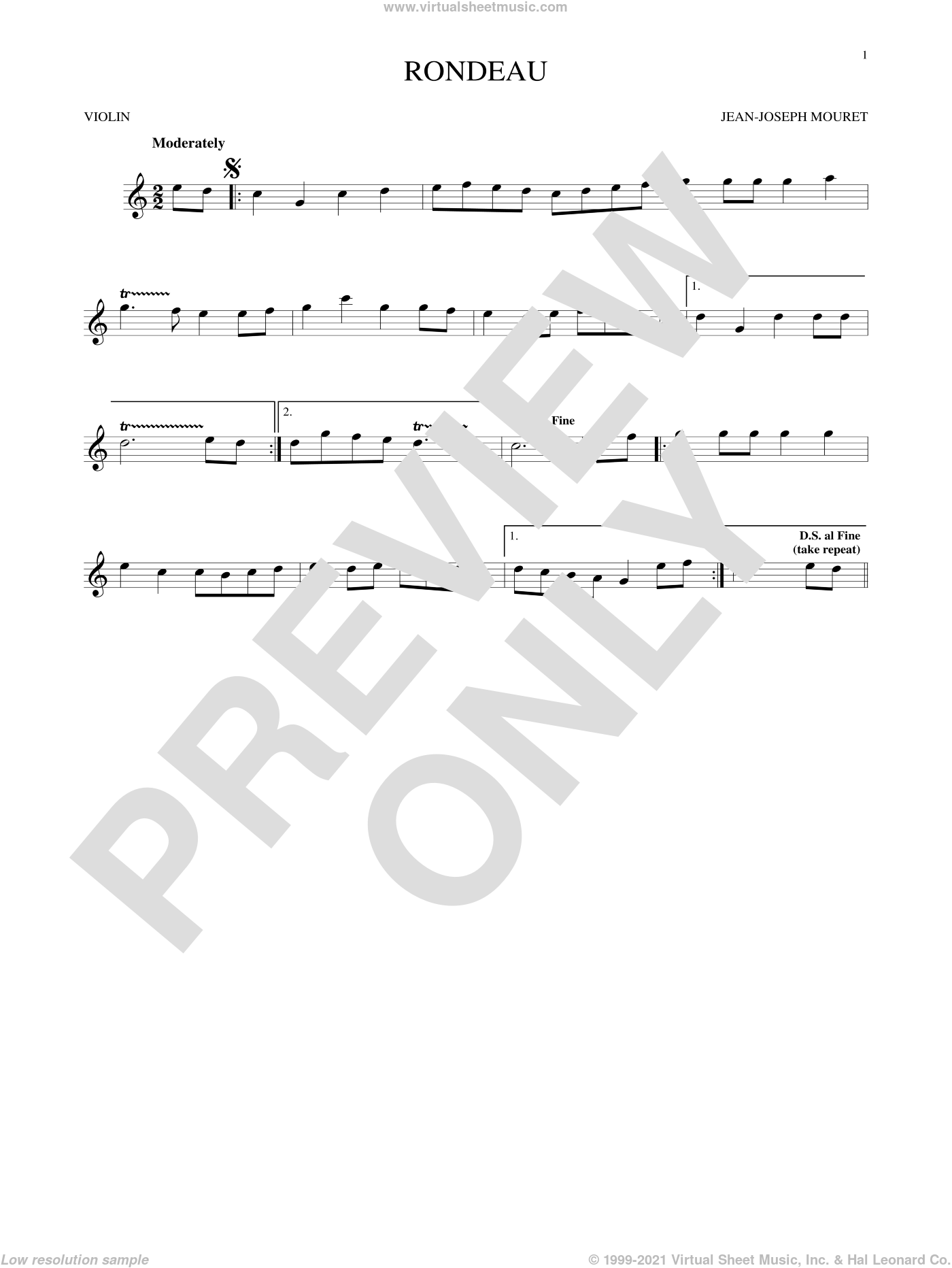 Fanfare Rondeau sheet music for violin solo by Jean-Joseph Mouret, classical score, intermediate skill level