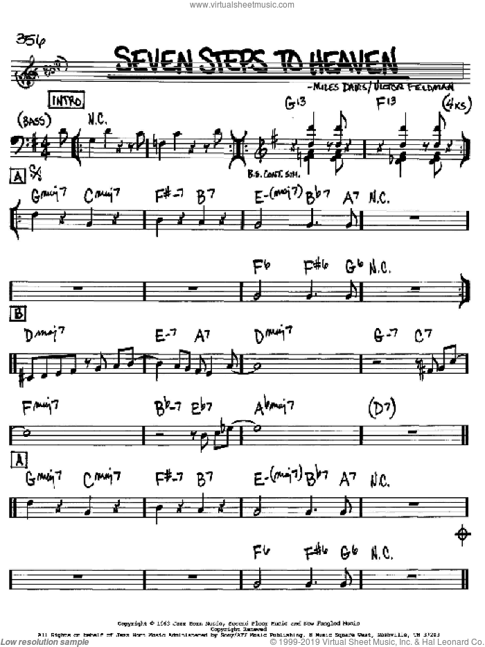 Seven Steps To Heaven sheet music for voice and other instruments (Bb) by Victor Feldman and Miles Davis. Score Image Preview.