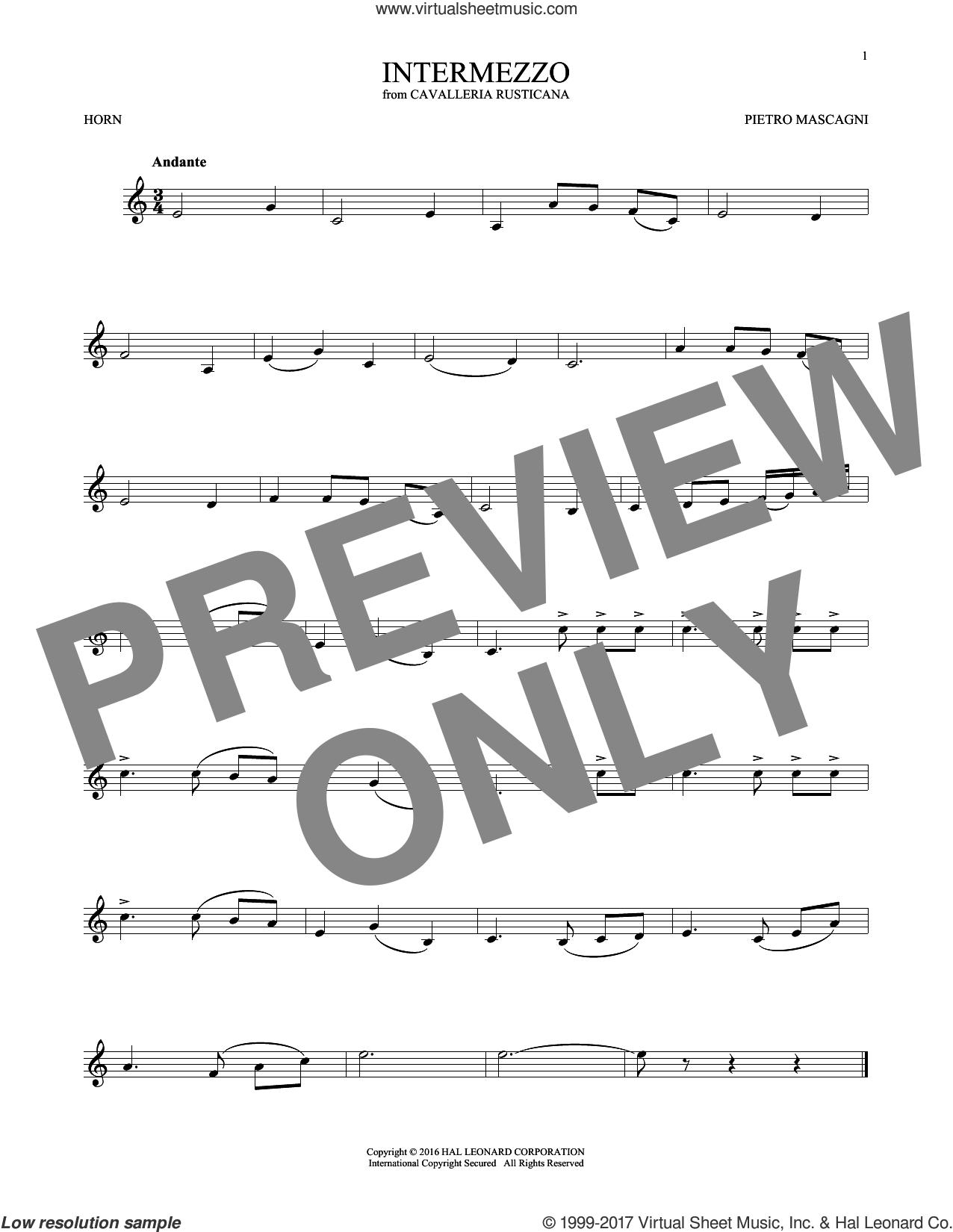 Intermezzo sheet music for horn solo by Pietro Mascagni, classical score, intermediate skill level