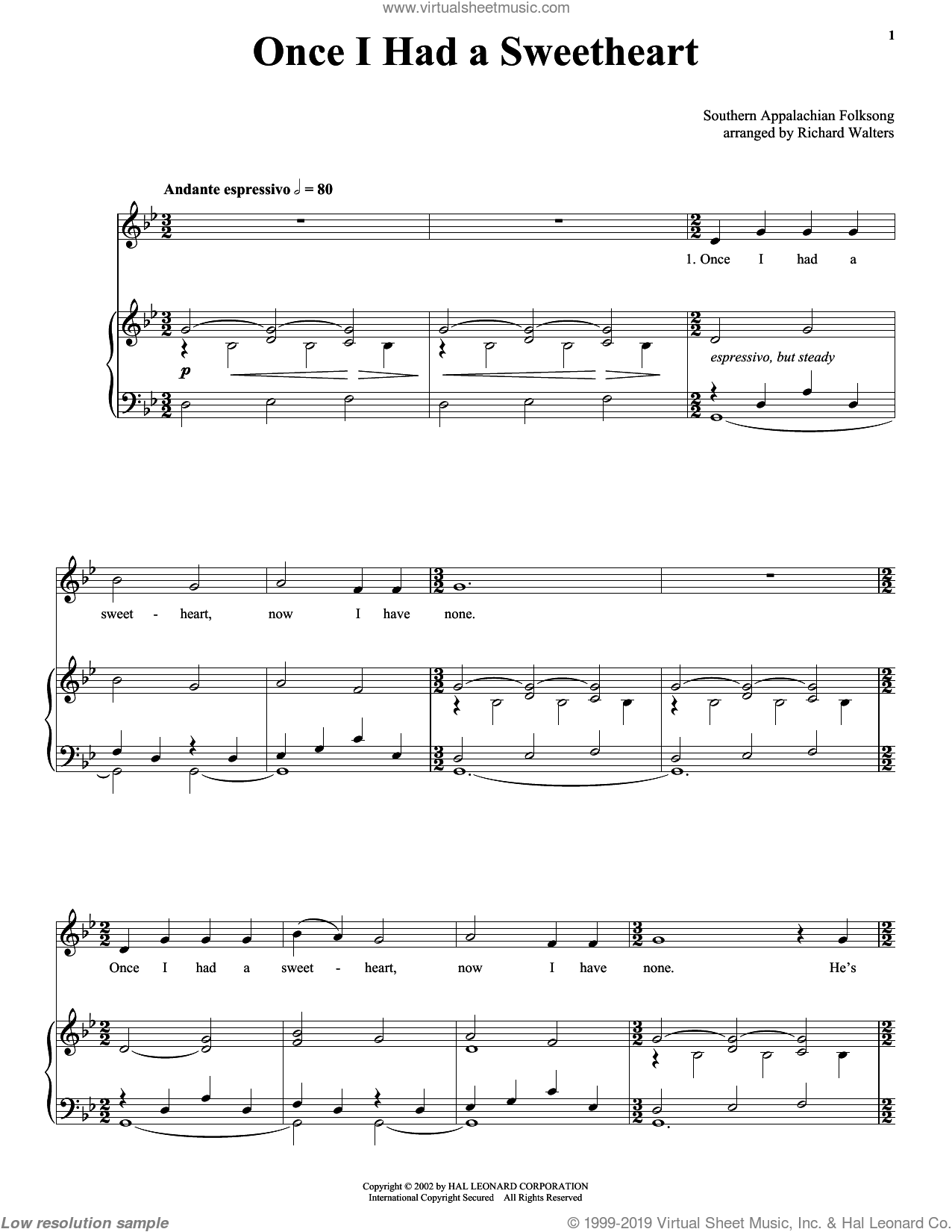 Once I Had A Sweetheart sheet music for voice, piano or guitar. Score Image Preview.