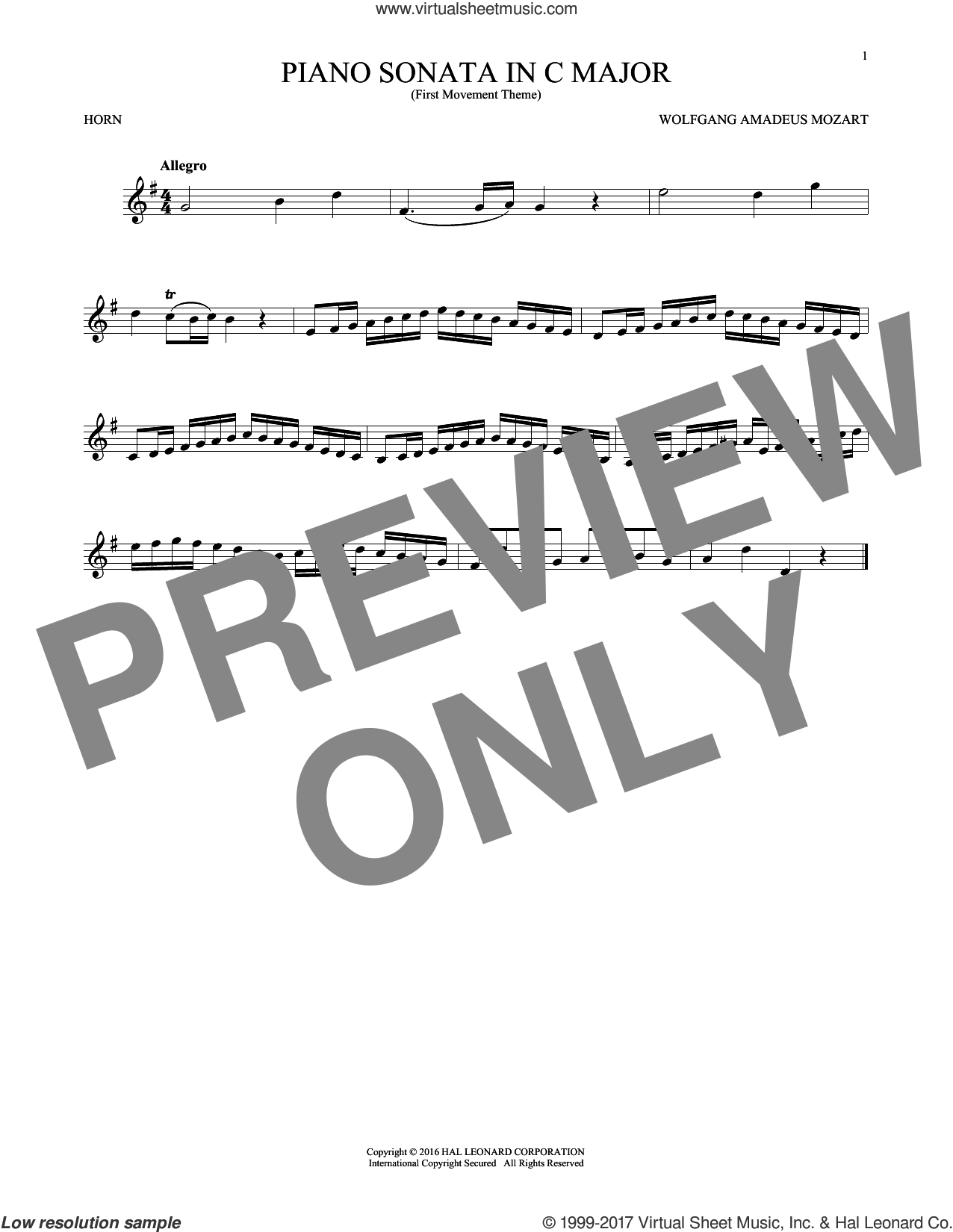 Piano Sonata In C Major sheet music for horn solo by Wolfgang Amadeus Mozart, classical score, intermediate skill level