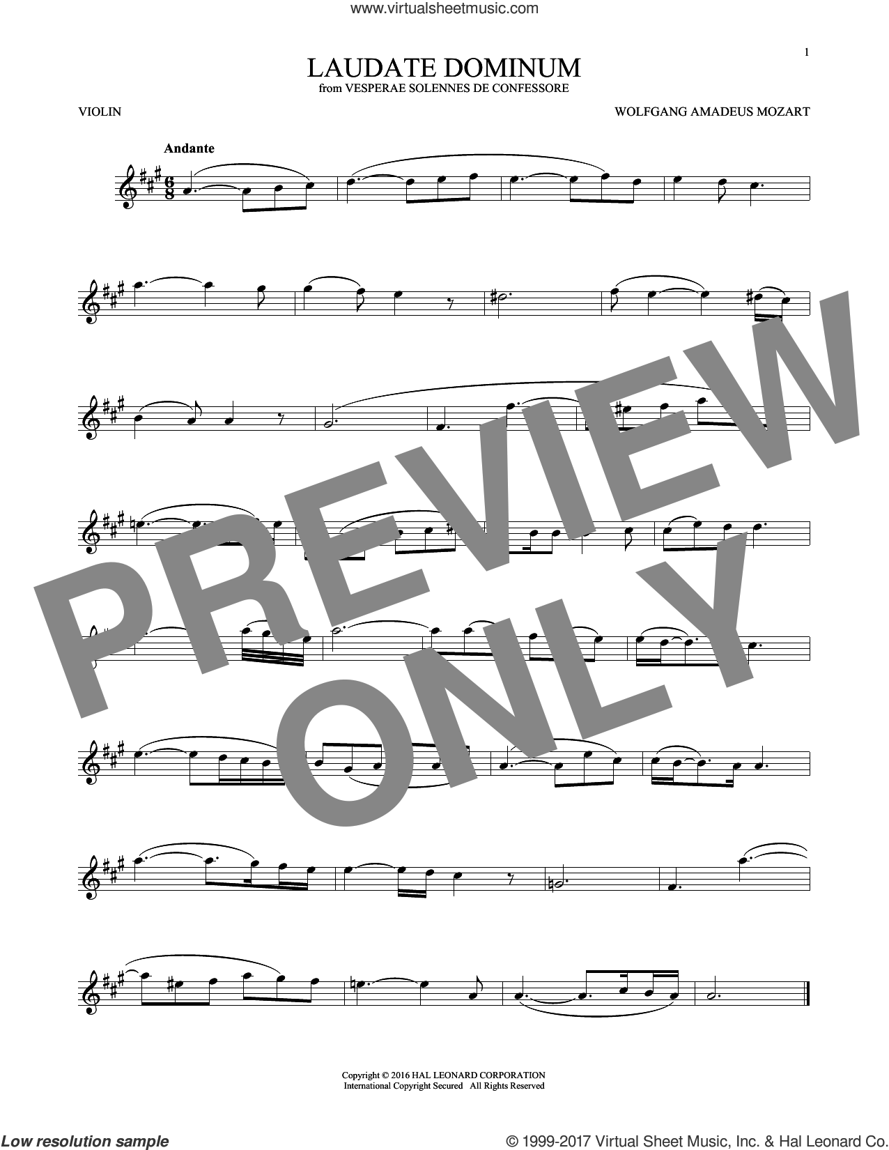 Laudate Dominum sheet music for violin solo by Wolfgang Amadeus Mozart, classical score, intermediate skill level