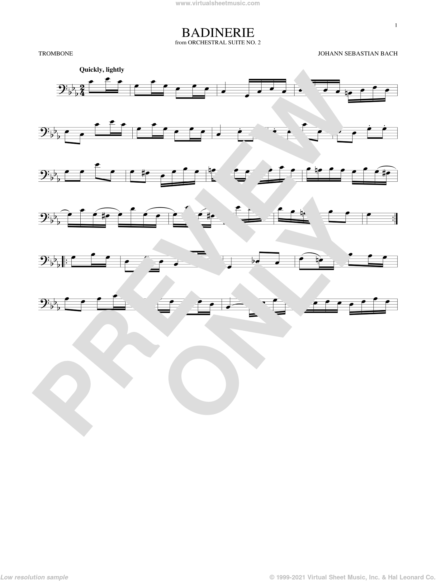 Badinerie (Suite No. 2) sheet music for trombone solo by Johann Sebastian Bach, classical score, intermediate skill level