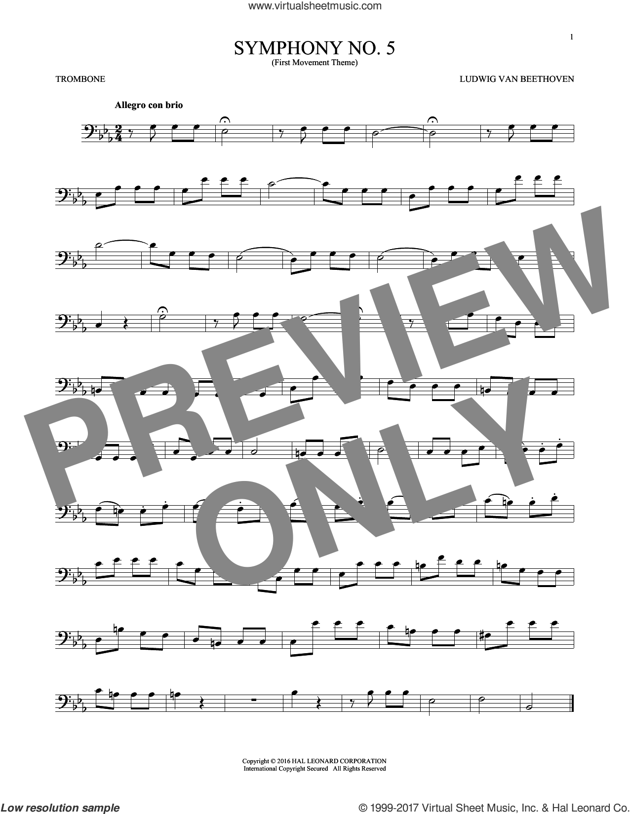 Symphony No. 5 In C Minor, First Movement Excerpt sheet music for trombone solo by Ludwig van Beethoven, classical score, intermediate skill level