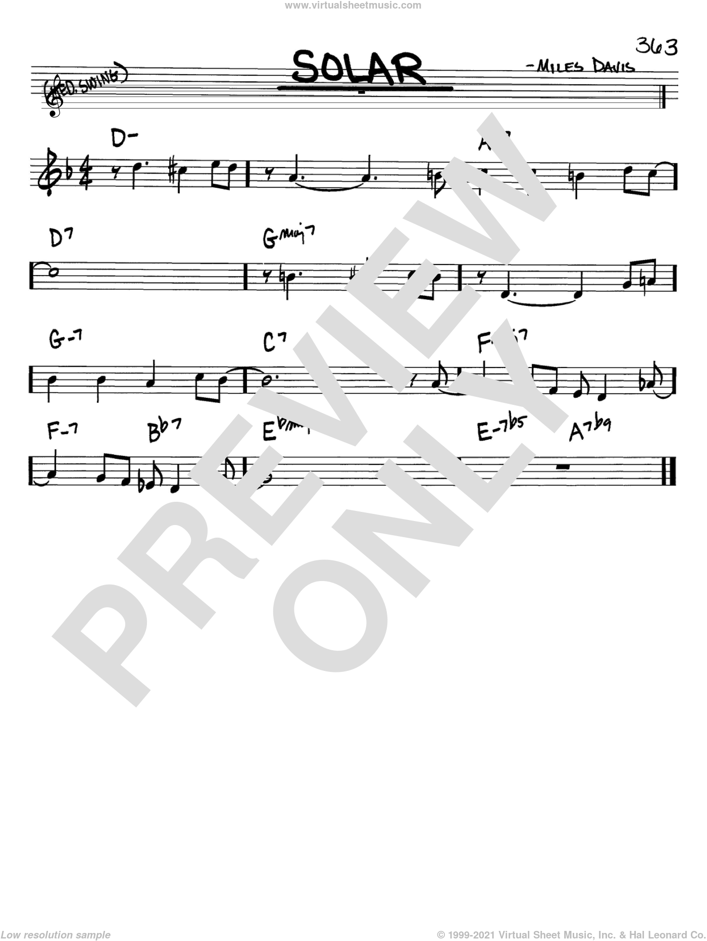 Solar sheet music for voice and other instruments (in Bb) by Miles Davis, intermediate. Score Image Preview.