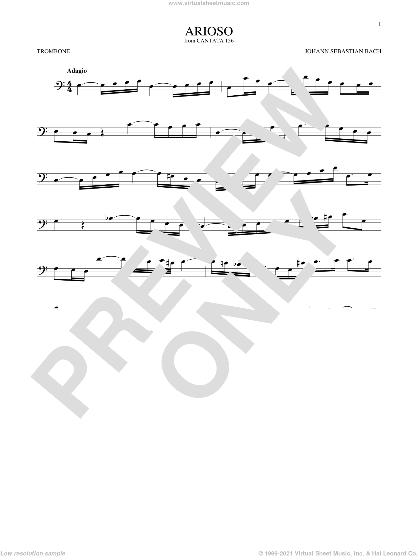 Arioso sheet music for trombone solo by Johann Sebastian Bach, classical score, intermediate skill level