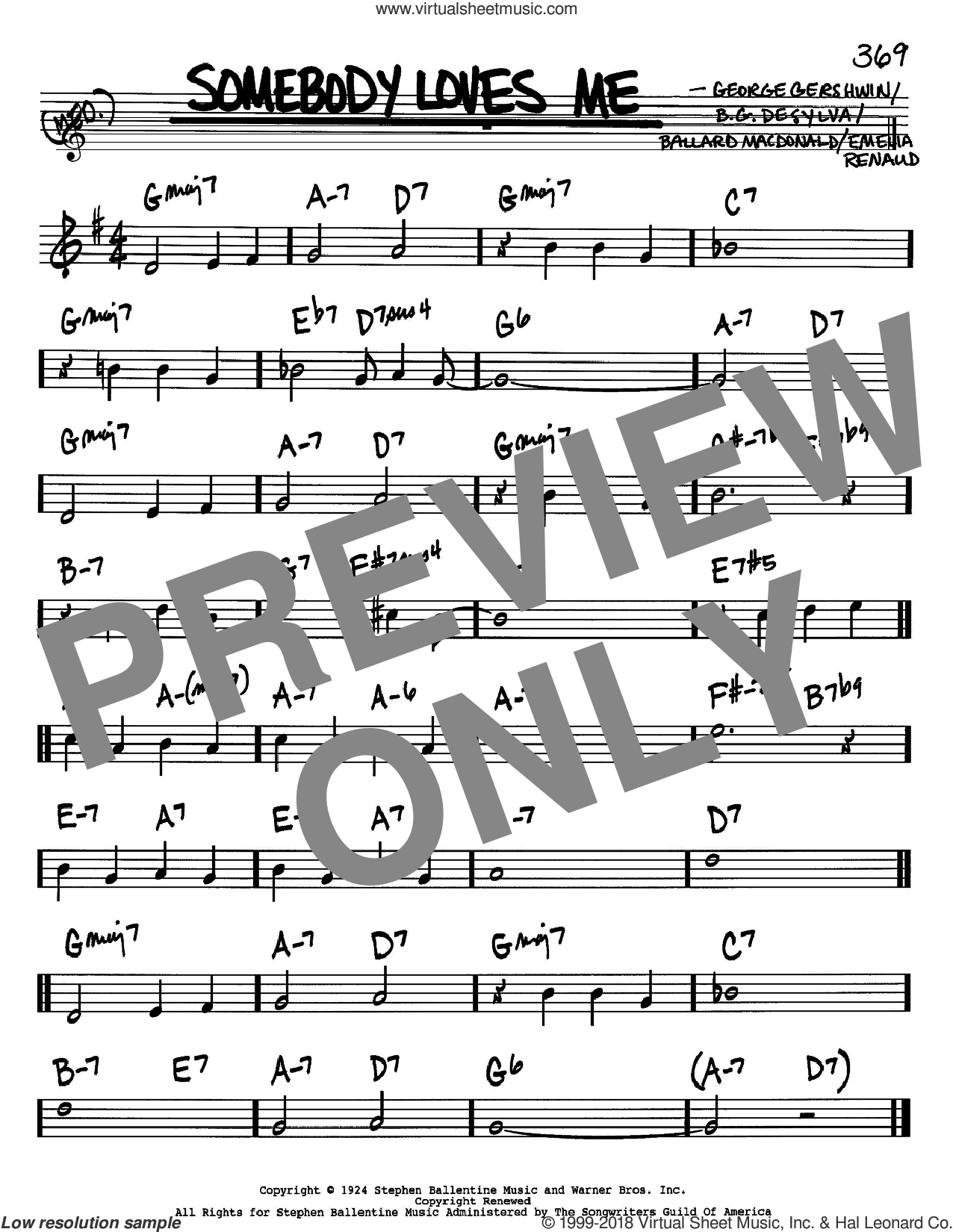 Somebody Loves Me sheet music for voice and other instruments (in Bb) by George Gershwin, Ballard MacDonald and Buddy DeSylva, intermediate skill level