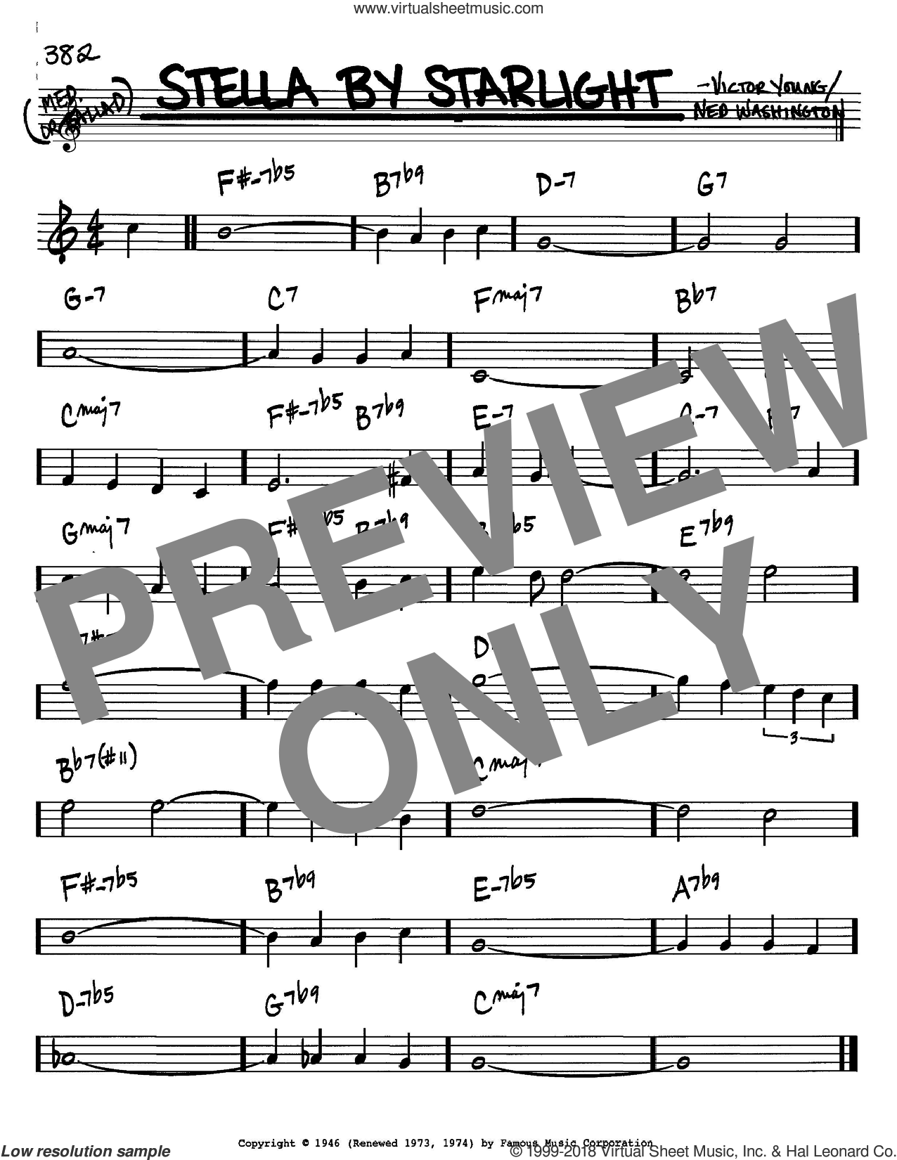 Stella By Starlight sheet music for voice and other instruments (Bb) by Victor Young and Ned Washington. Score Image Preview.