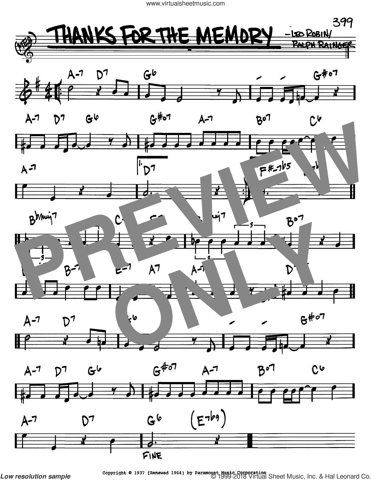 Thanks For The Memory sheet music for voice and other instruments (in Bb) by Ralph Rainger and Leo Robin, intermediate. Score Image Preview.