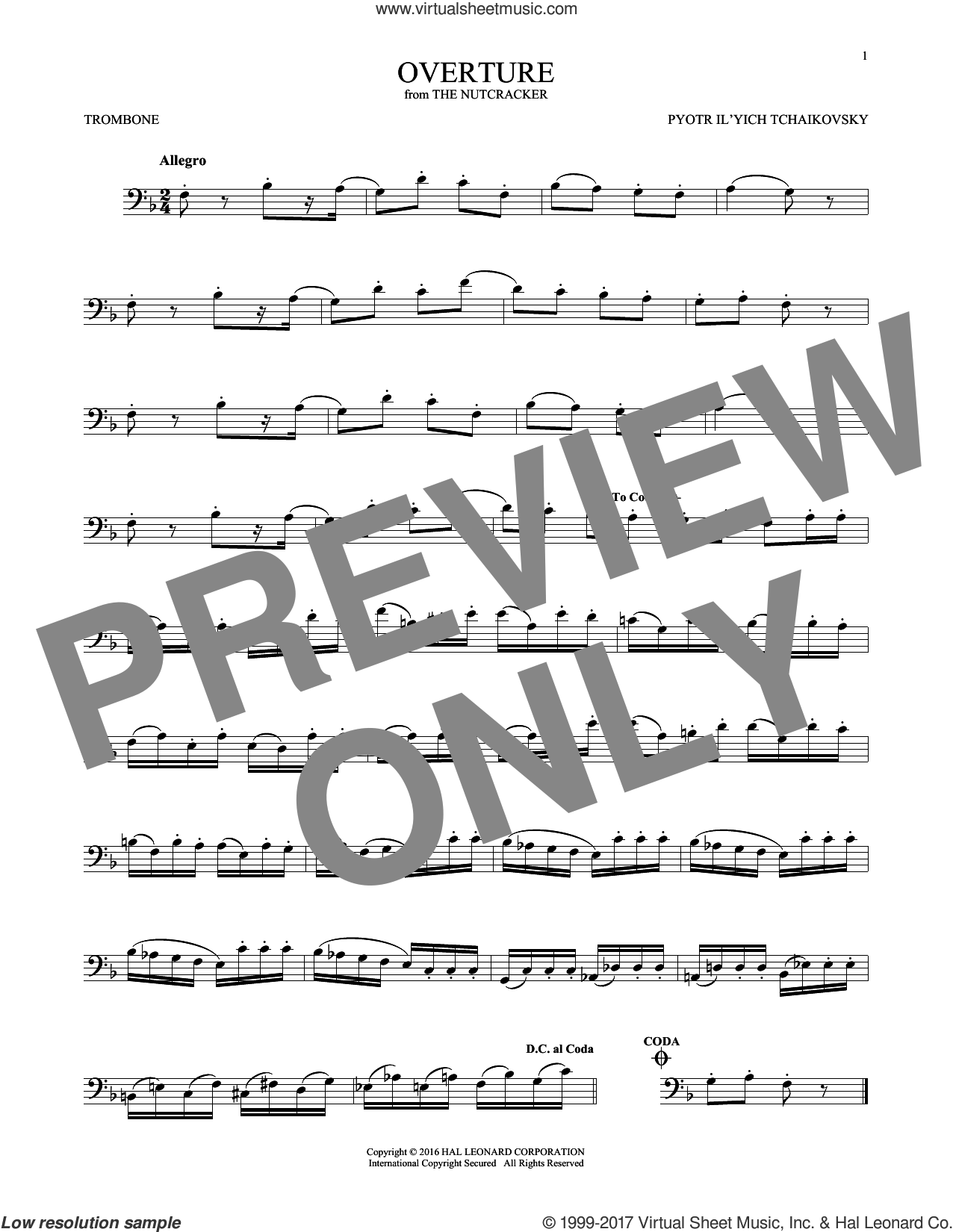 Overture sheet music for trombone solo by Pyotr Ilyich Tchaikovsky, classical score, intermediate skill level