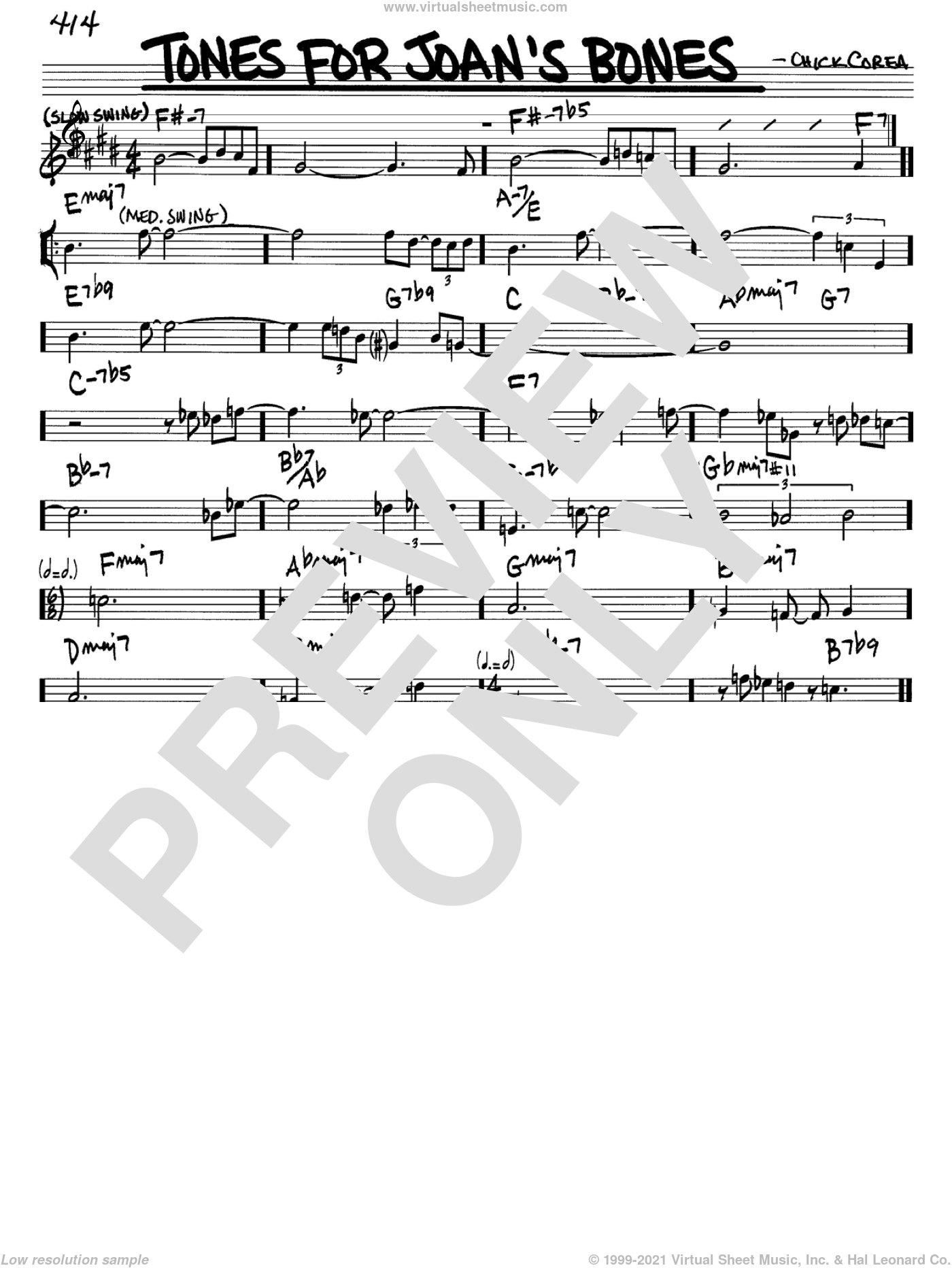Tones For Joan's Bones sheet music for voice and other instruments (in Bb) by Chick Corea, intermediate. Score Image Preview.
