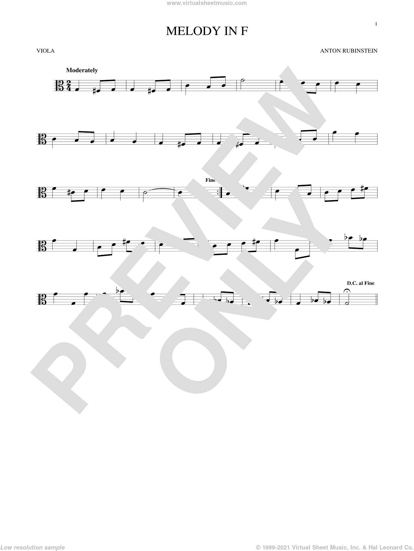 Melody In F sheet music for viola solo by Anton Rubinstein, classical score, intermediate skill level