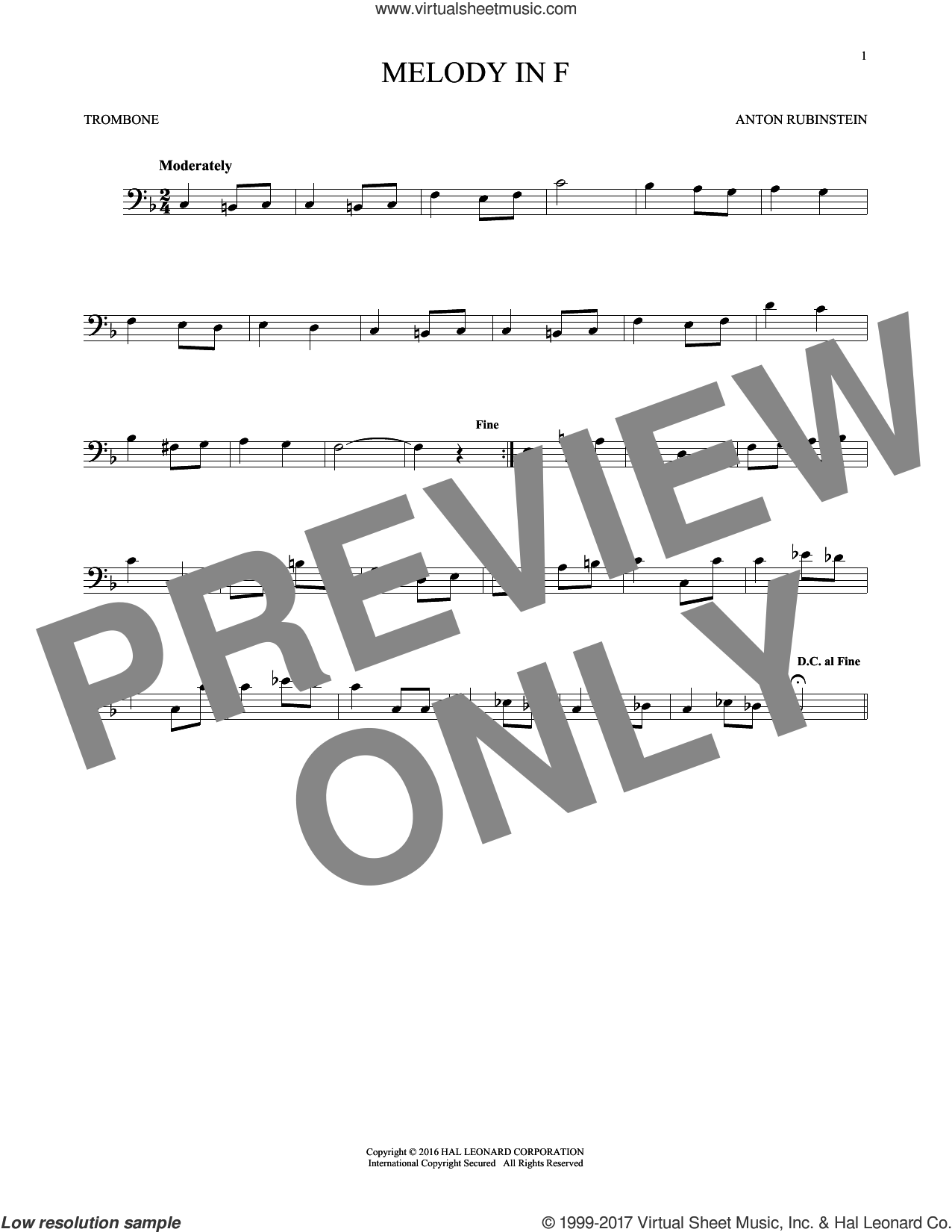 Melody In F sheet music for trombone solo by Anton Rubinstein, classical score, intermediate skill level