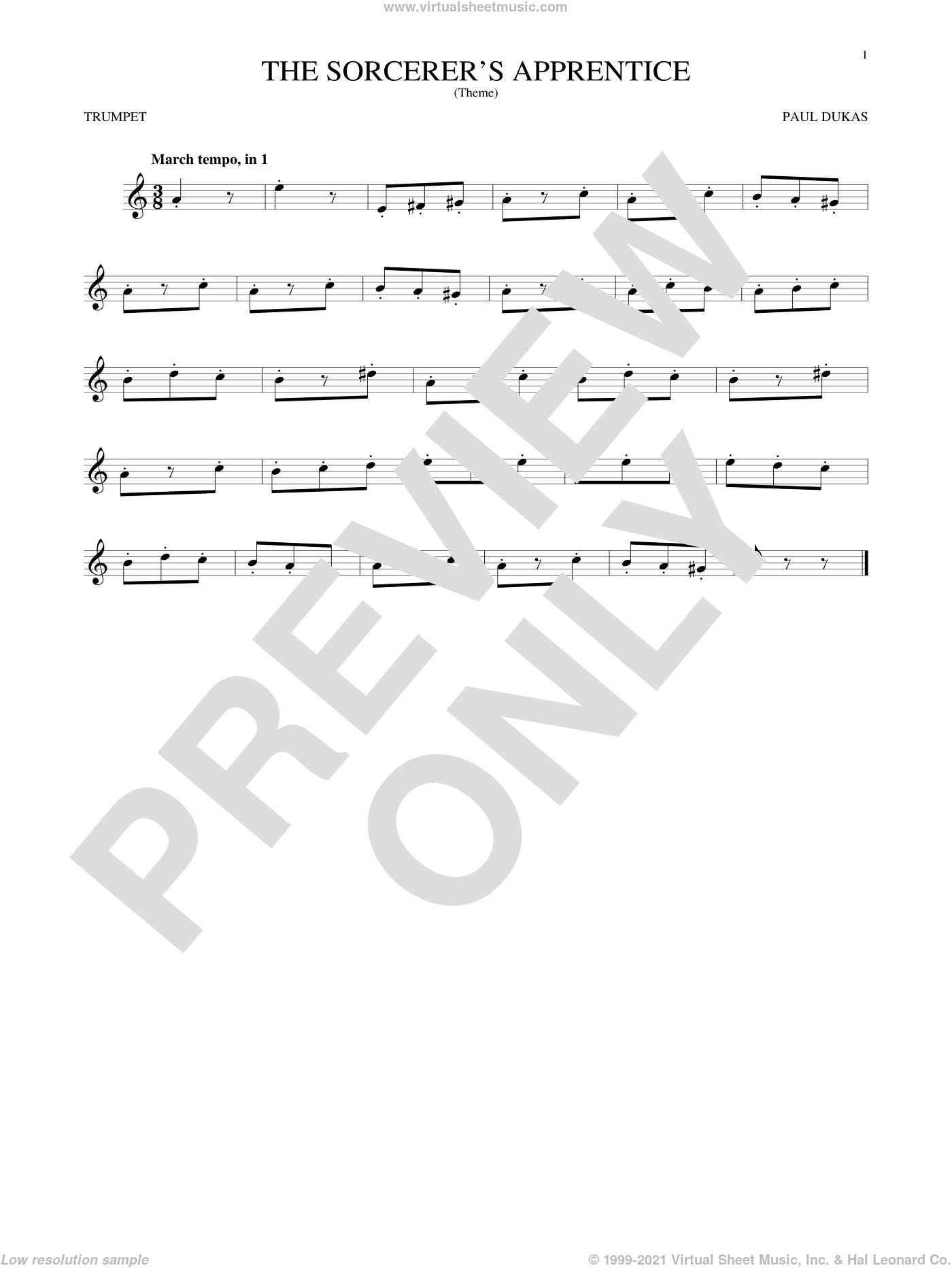 The Sorcerer's Apprentice sheet music for trumpet solo by Paul Dukas, classical score, intermediate skill level