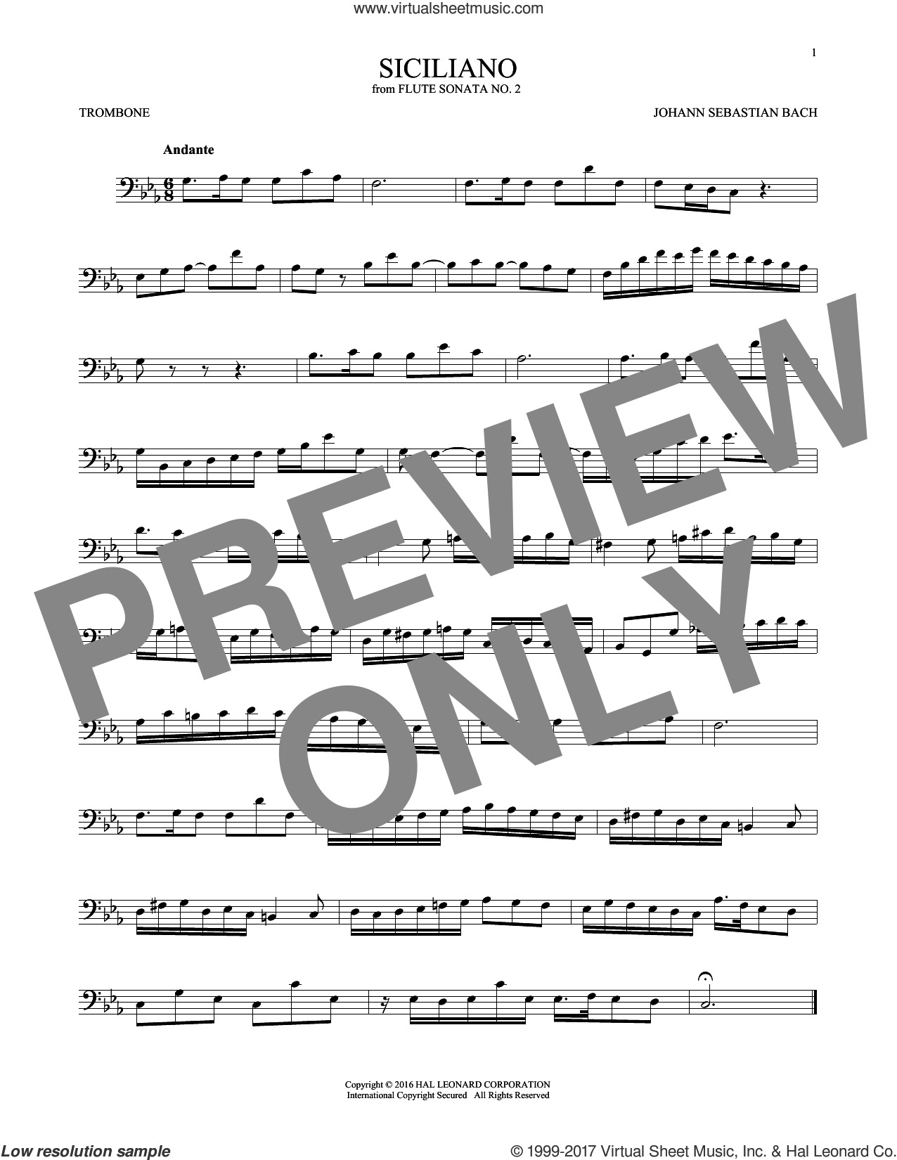 Siciliano sheet music for trombone solo by Johann Sebastian Bach, classical score, intermediate skill level